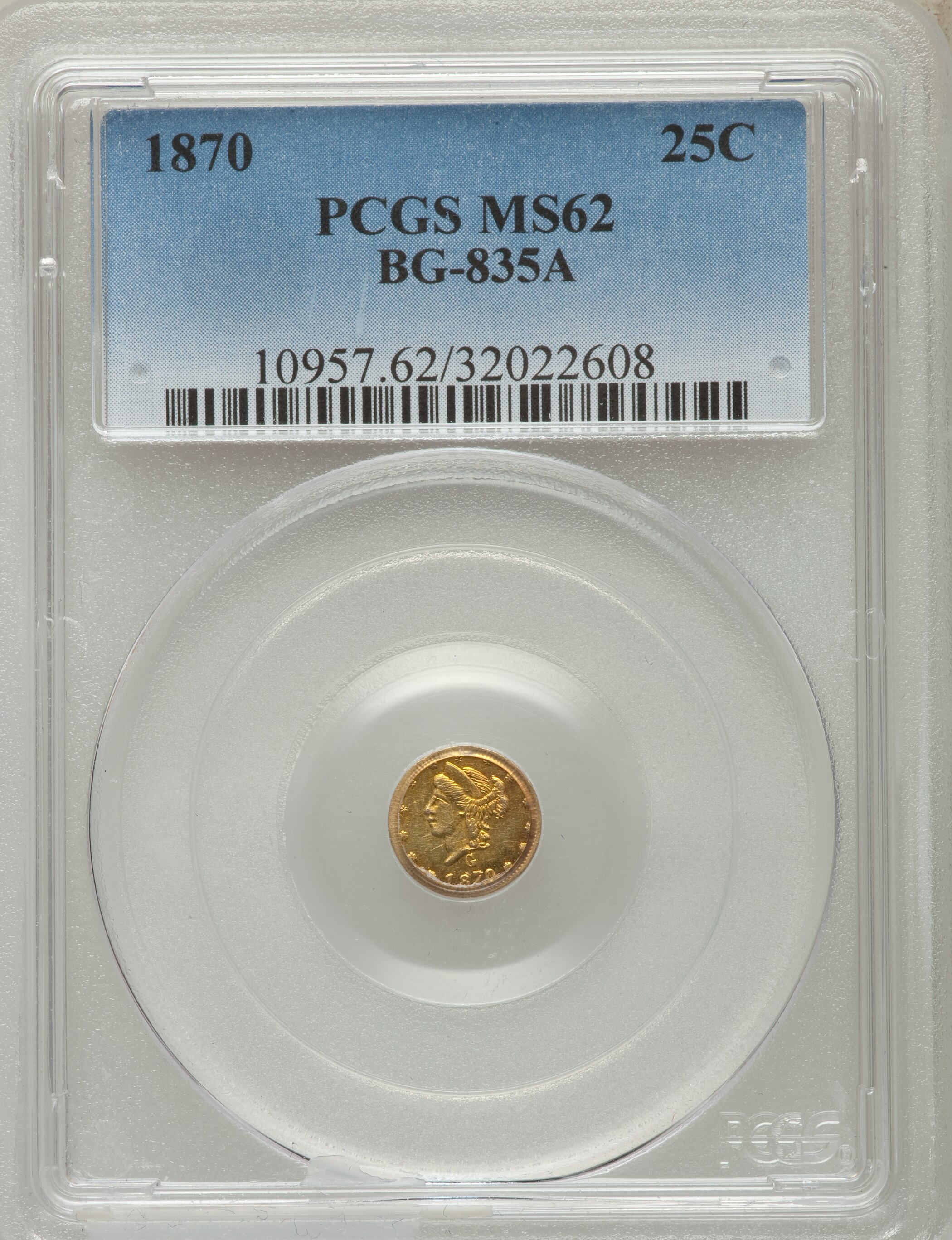 sample image for 1870 Cal. Gold 25c MS (BG-835A)