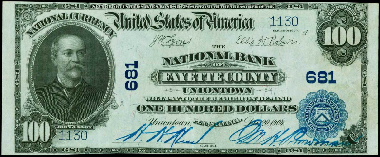 sample image for 1902 3rd Charter Period $100  Plain Back 3rd Issue (Fr.# 698)
