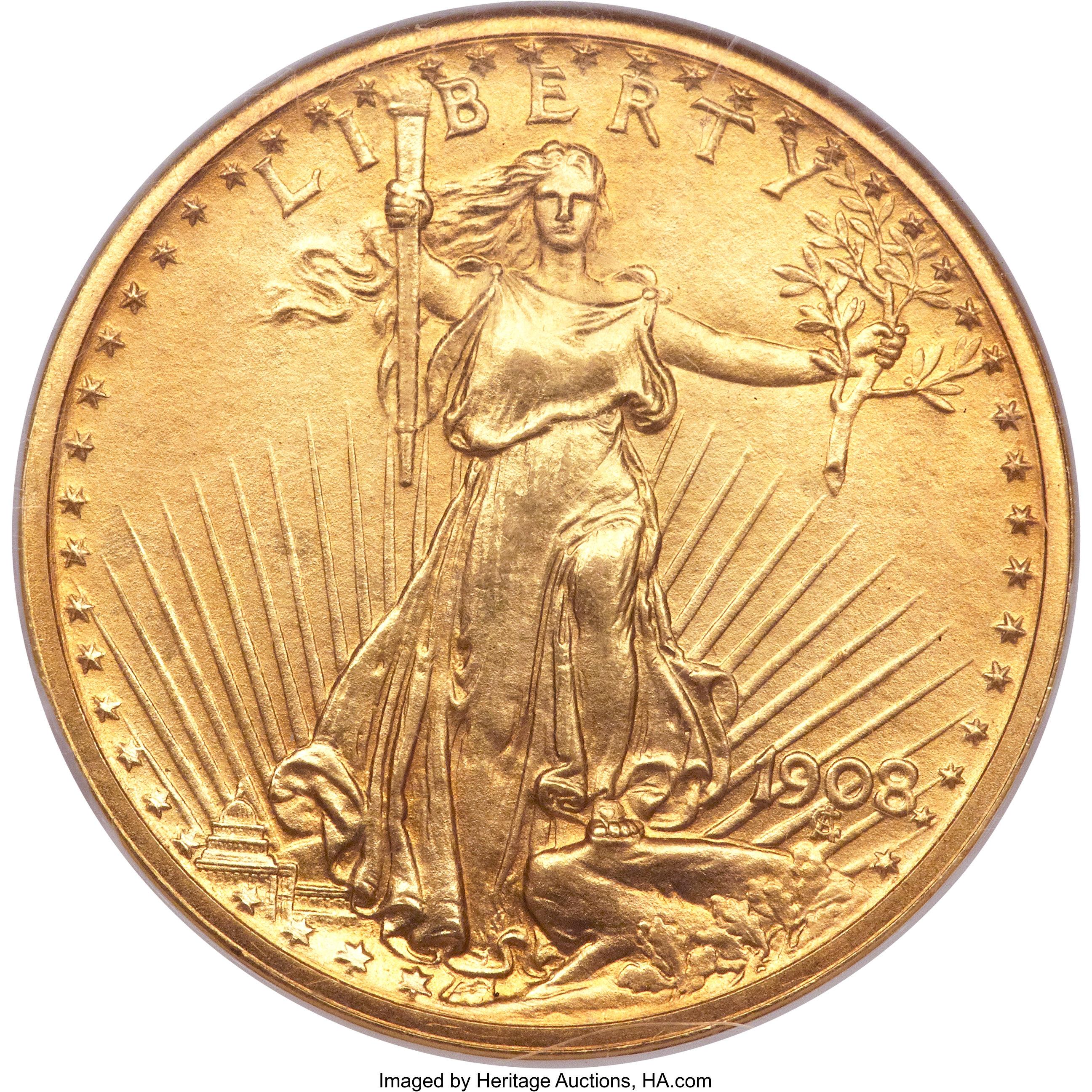 sample image for 1908 $20  PR Roman Finish