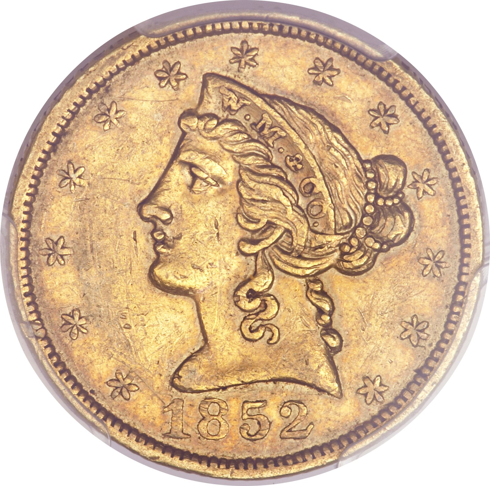 sample image for 1852 $5 Wass Mol Co, Small Head