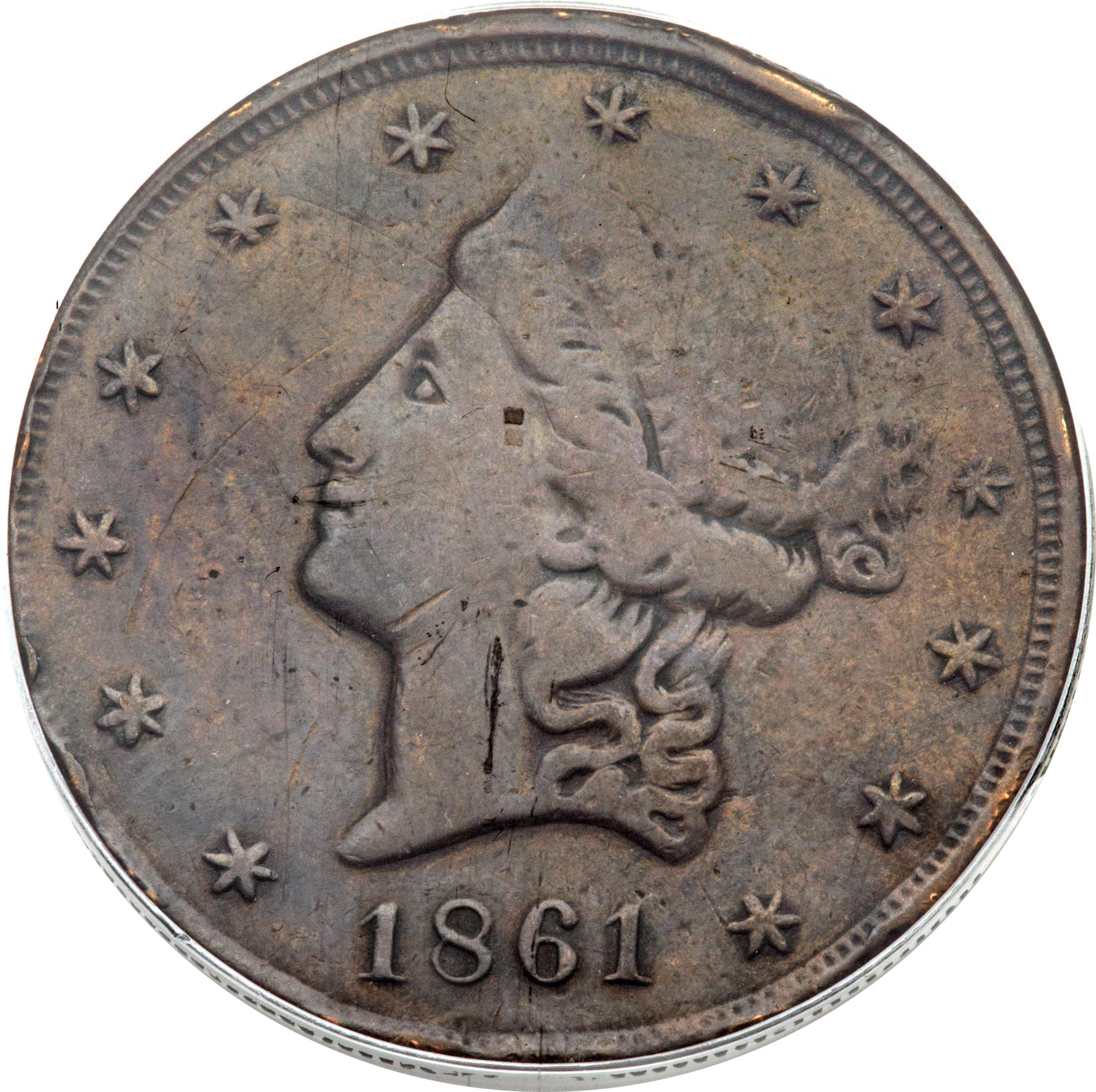 sample image for 1861 $20 Clark Gruber
