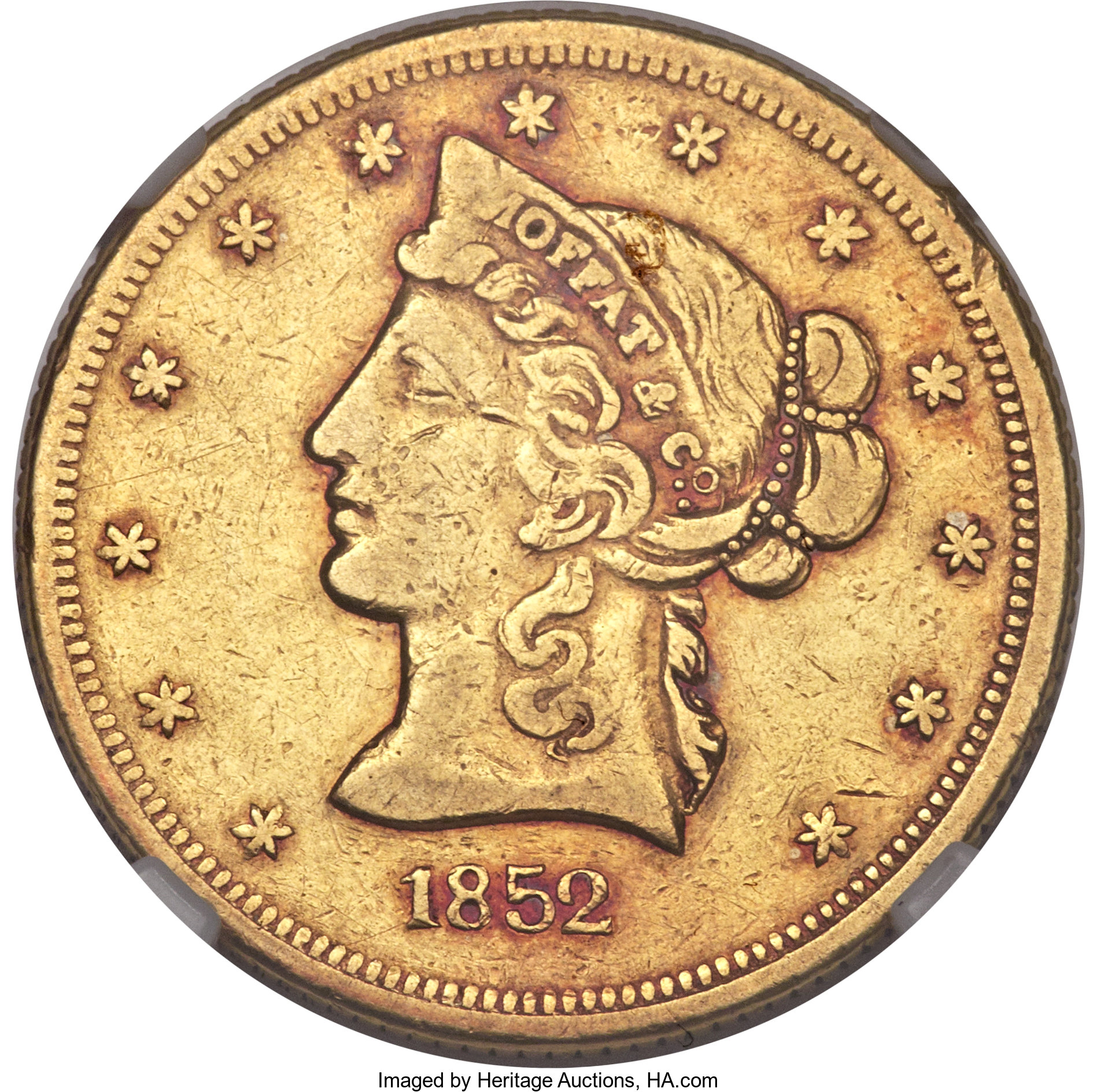 sample image for 1852 $10 Moffat, Cl Date (K-8)