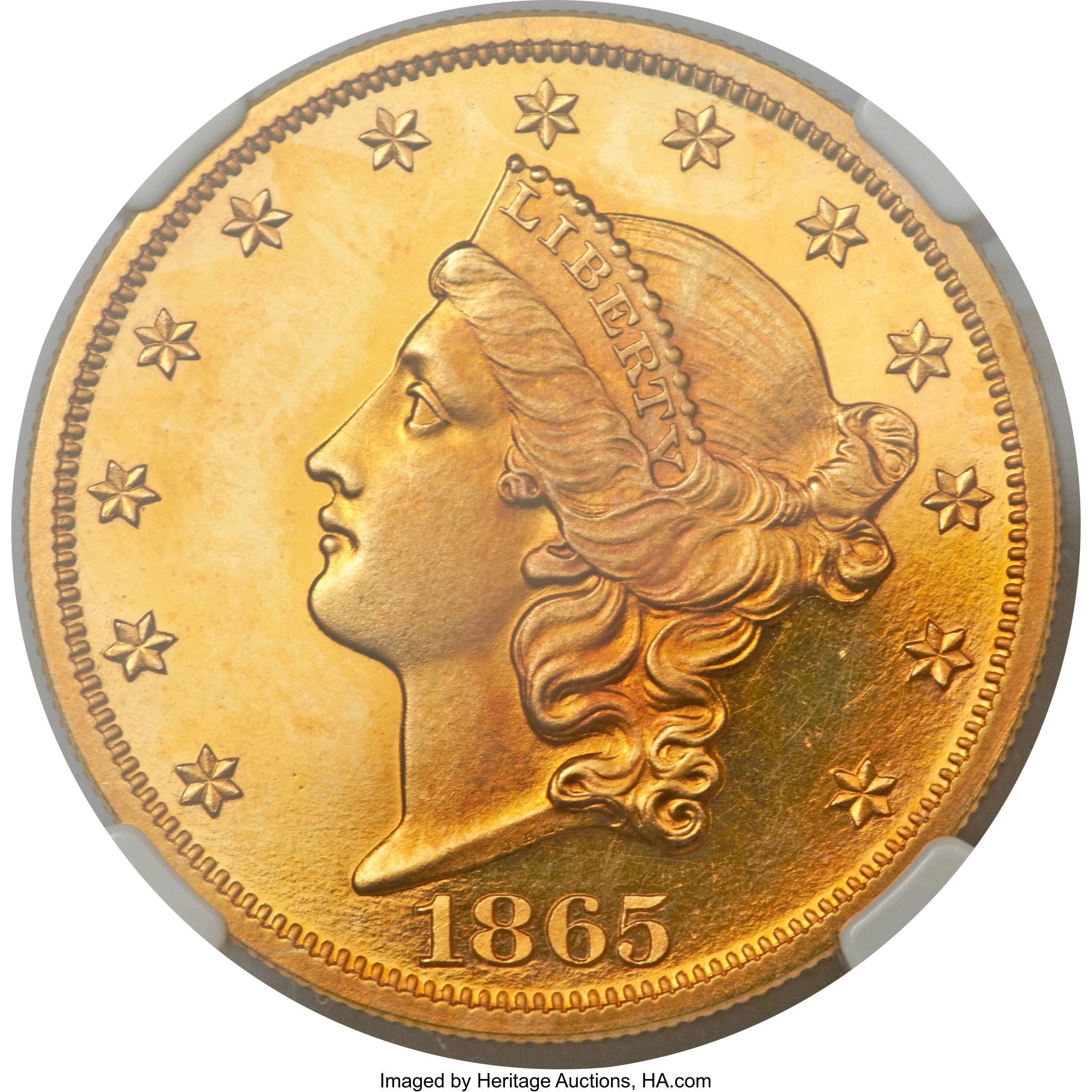 sample image for 1865 $20  PR DCAM
