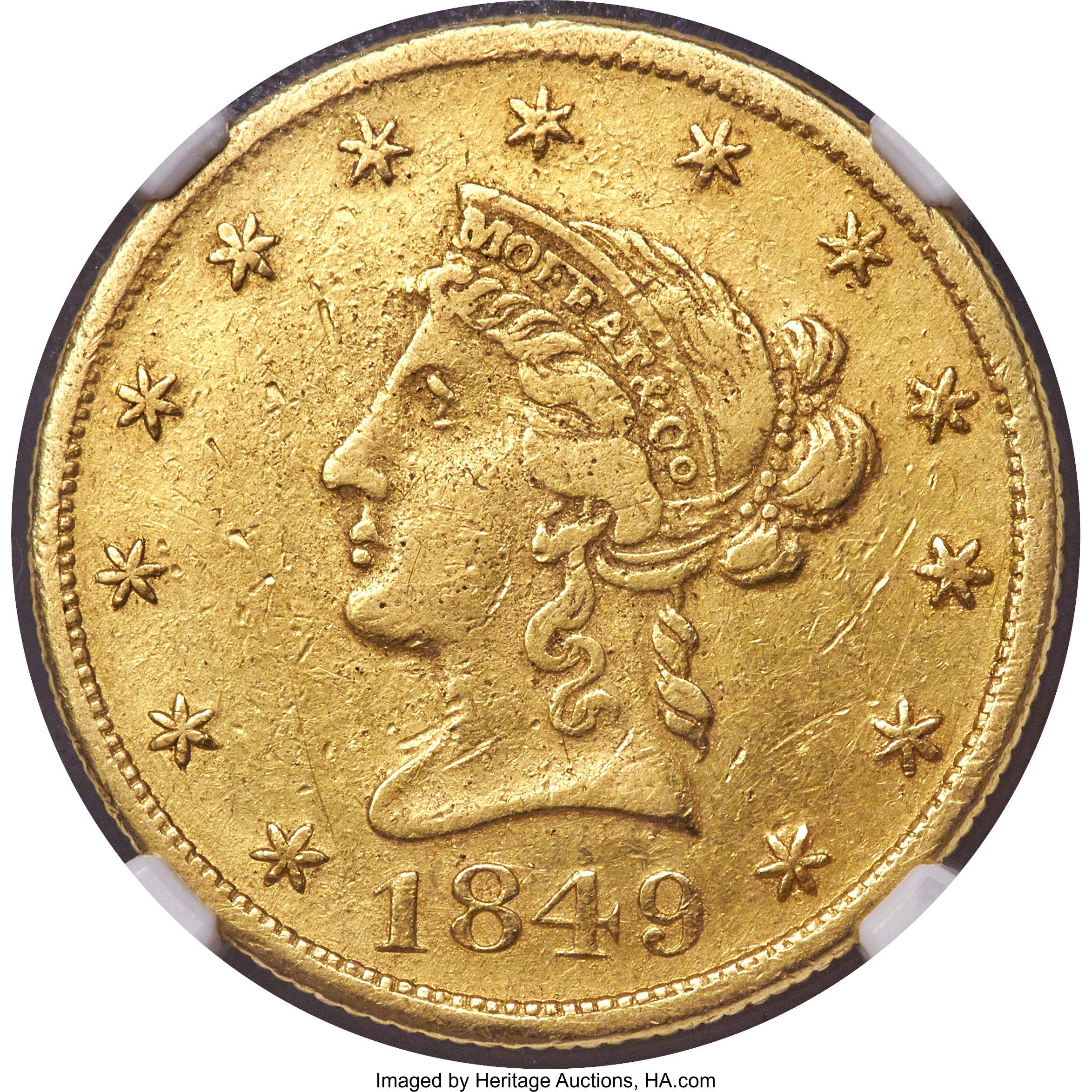 sample image for 1849 $10 Moffat TEN D. (K-5)