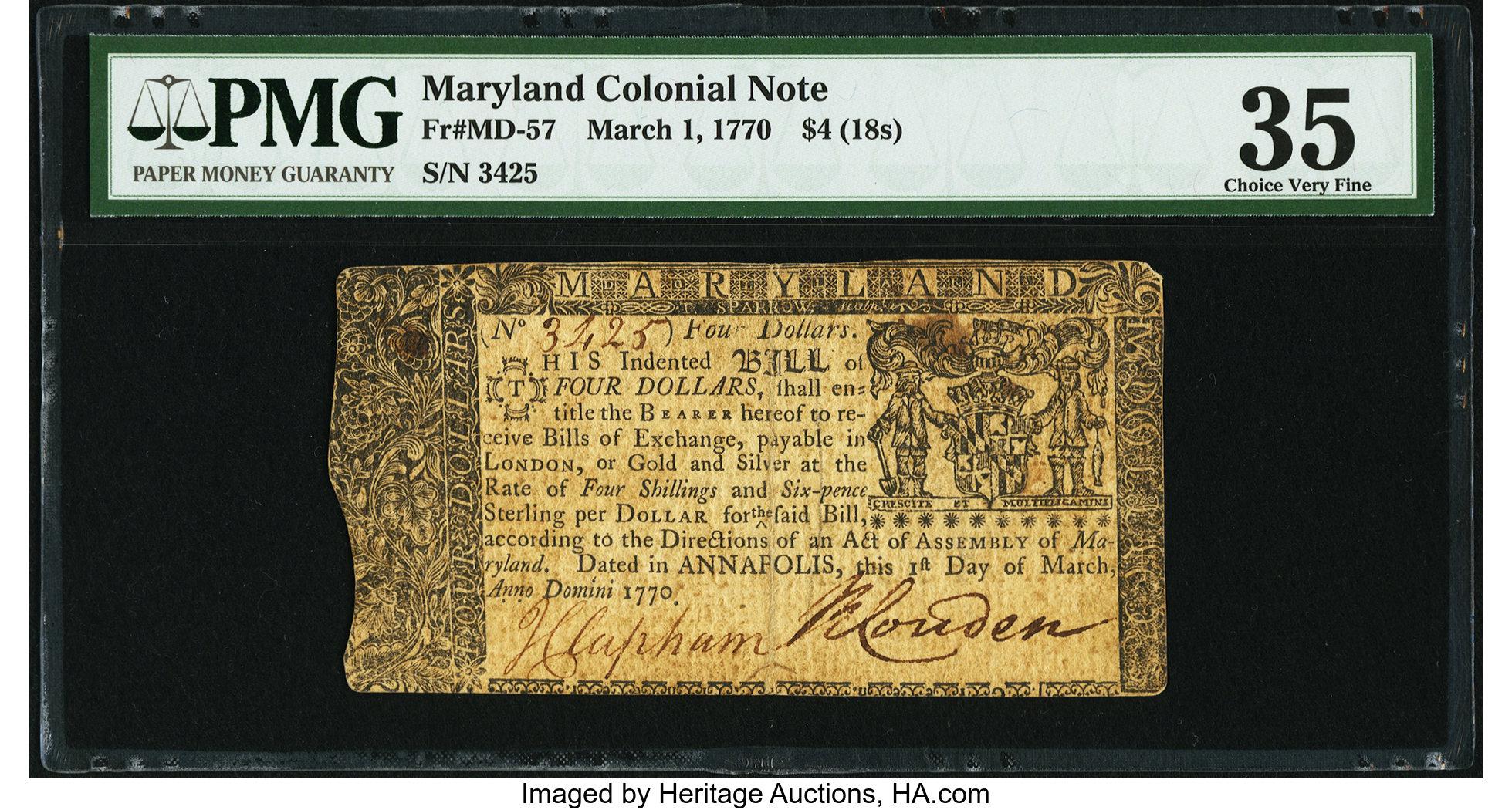 sample image for 1770 1-Mar $4  (Fr.# MD57)