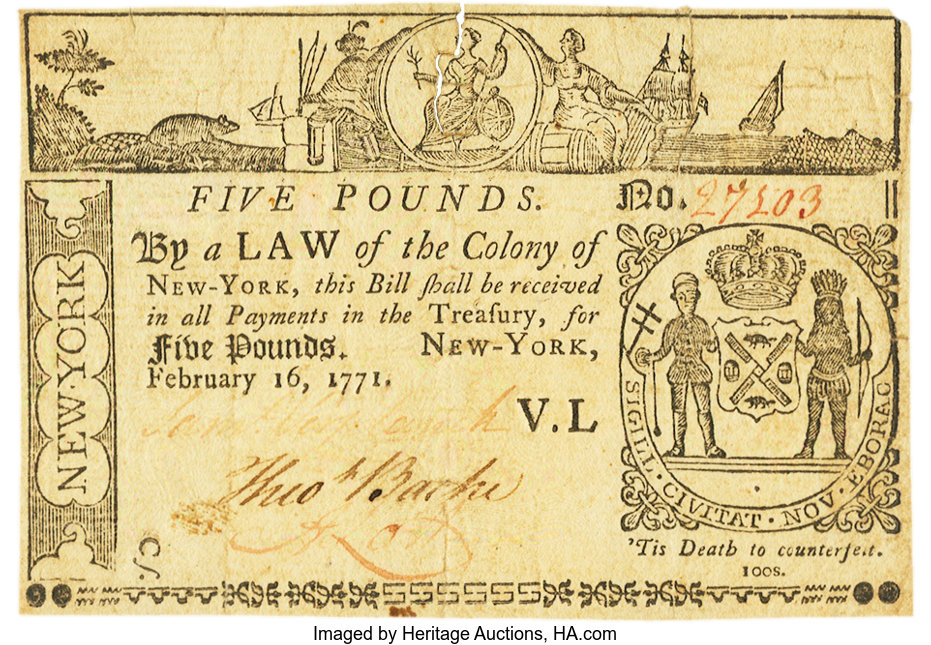 sample image for 1771 16-Feb £5 (Fr.# NY166)
