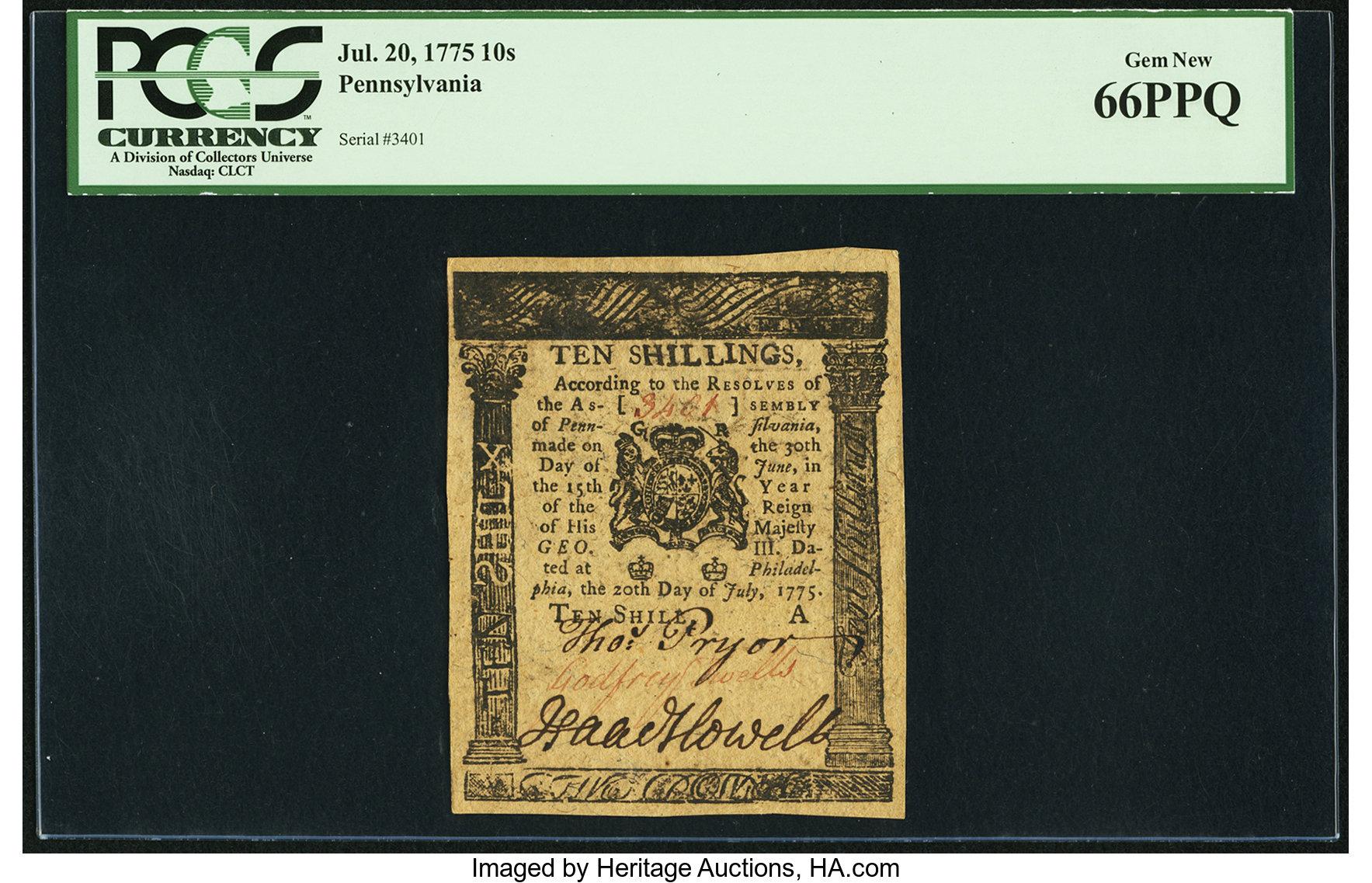 sample image for 1775 20-Jul 10s (Fr.# PA177)