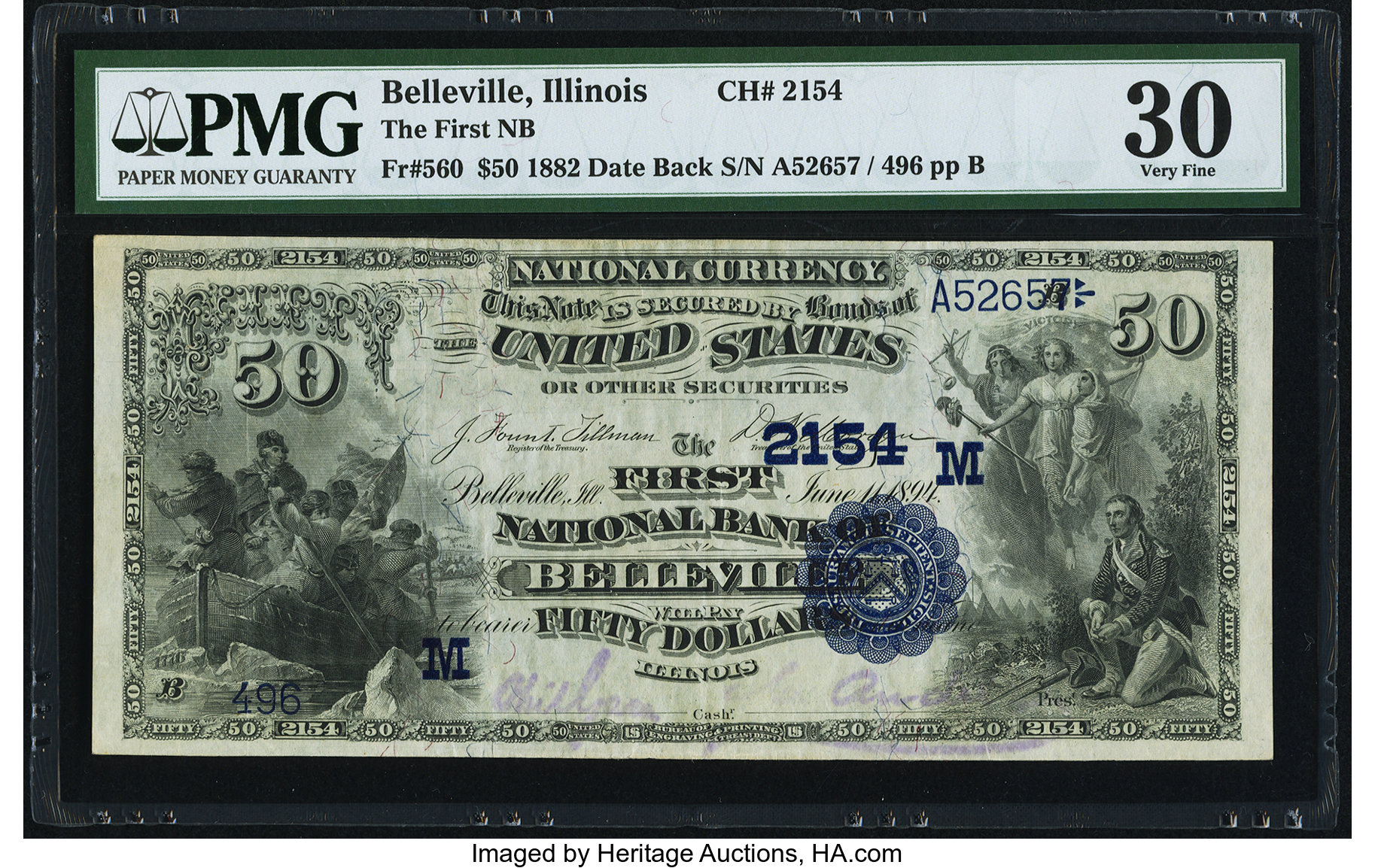 sample image for 1882 2nd Charter Period $50  Date Back 2nd Issue (Fr.# 560)