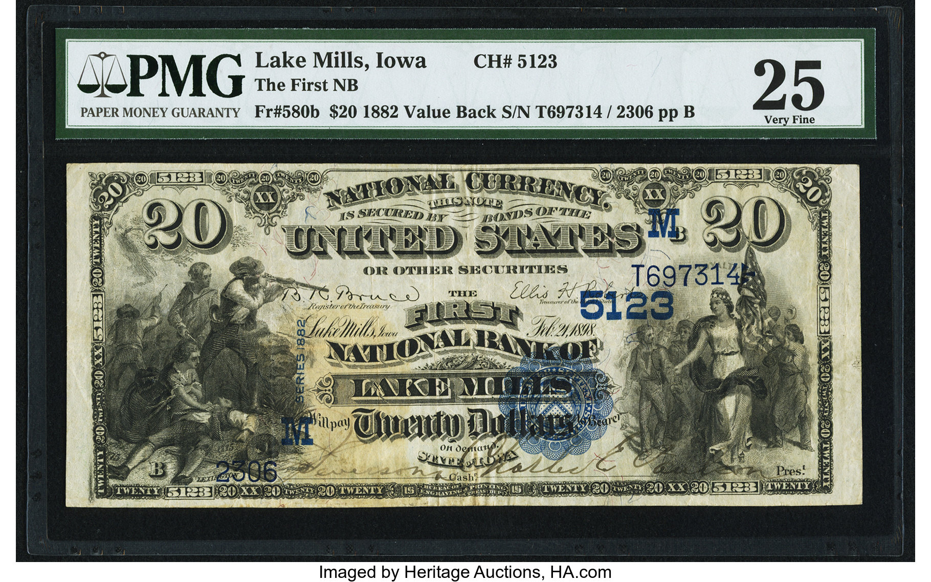 sample image for 1882 2nd Charter Period $20  Value Back 3rd Issue (Fr.# 580)