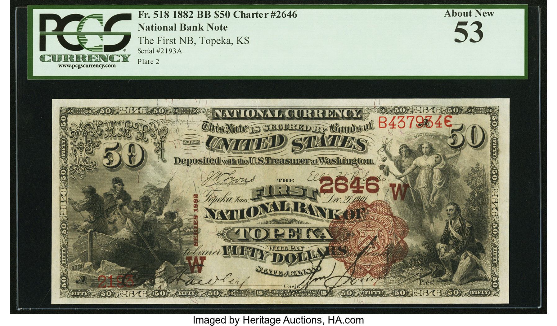 sample image for 1882 2nd Charter Period $50  Brown Back 1st Issue (Fr.# 518)