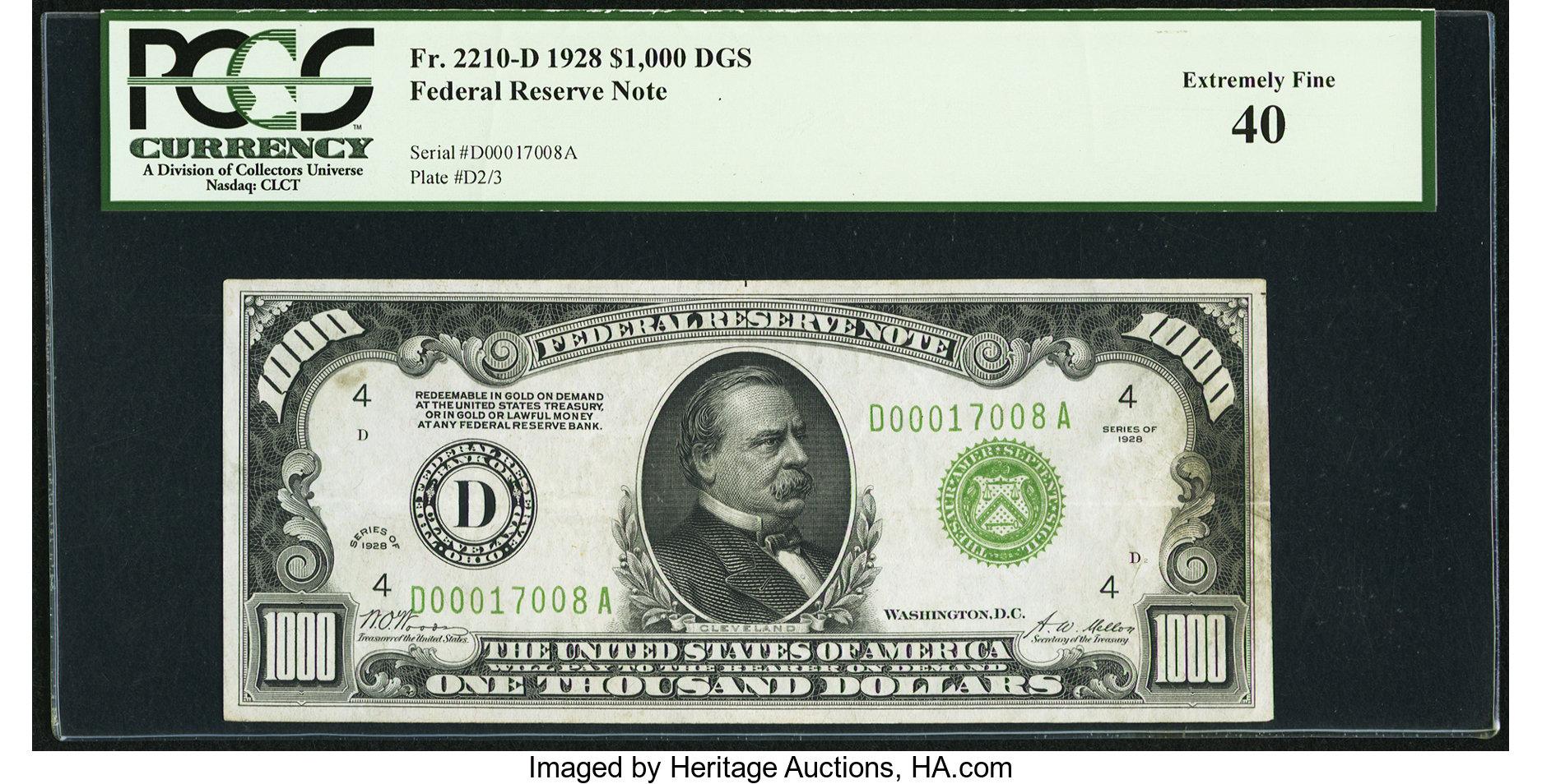 sample image for Fr.2210D $1,000 1928 Cleveland