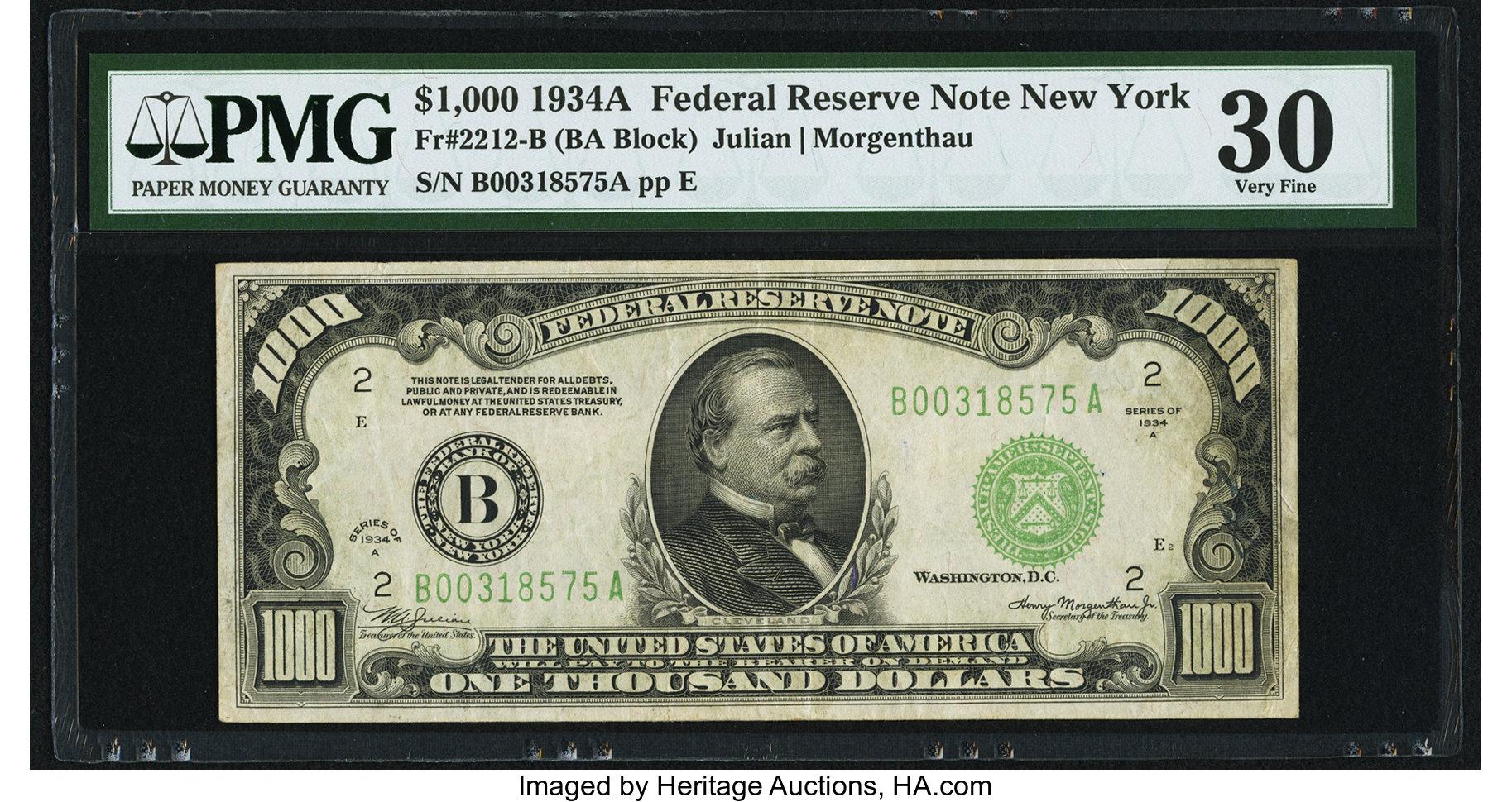 sample image for Fr.2212B $1,000 1934A New York