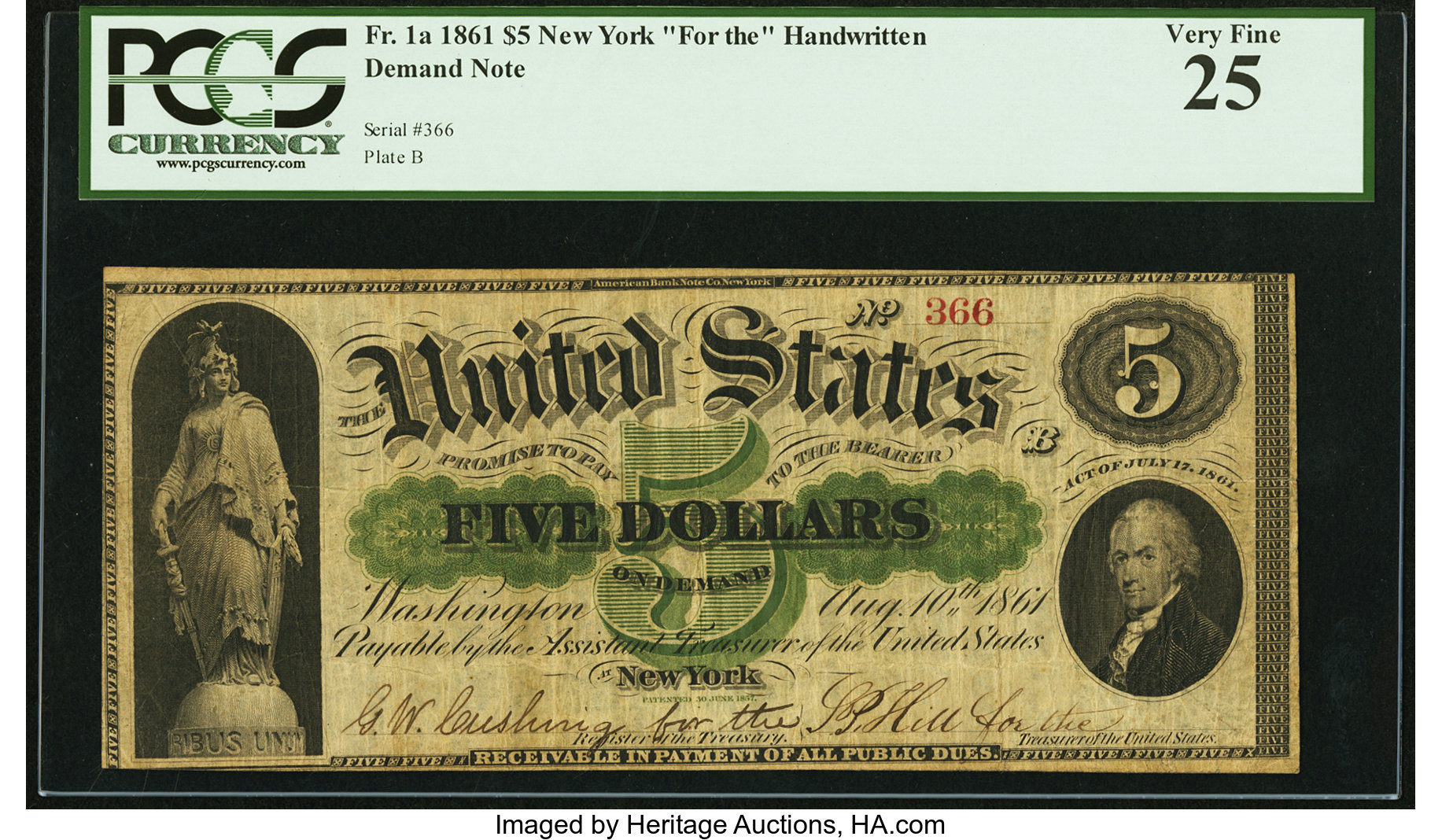 sample image for 1861 $5  (Fr.# 1a)