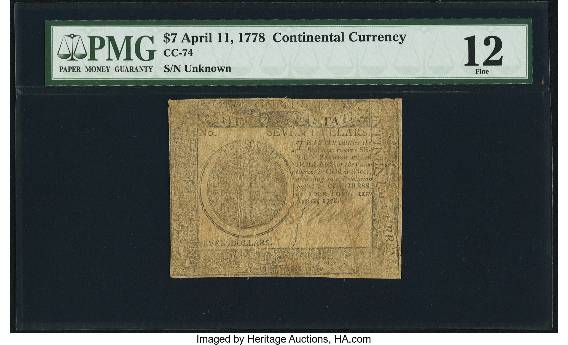 sample image for 1778 $7 CC74 Yorktown