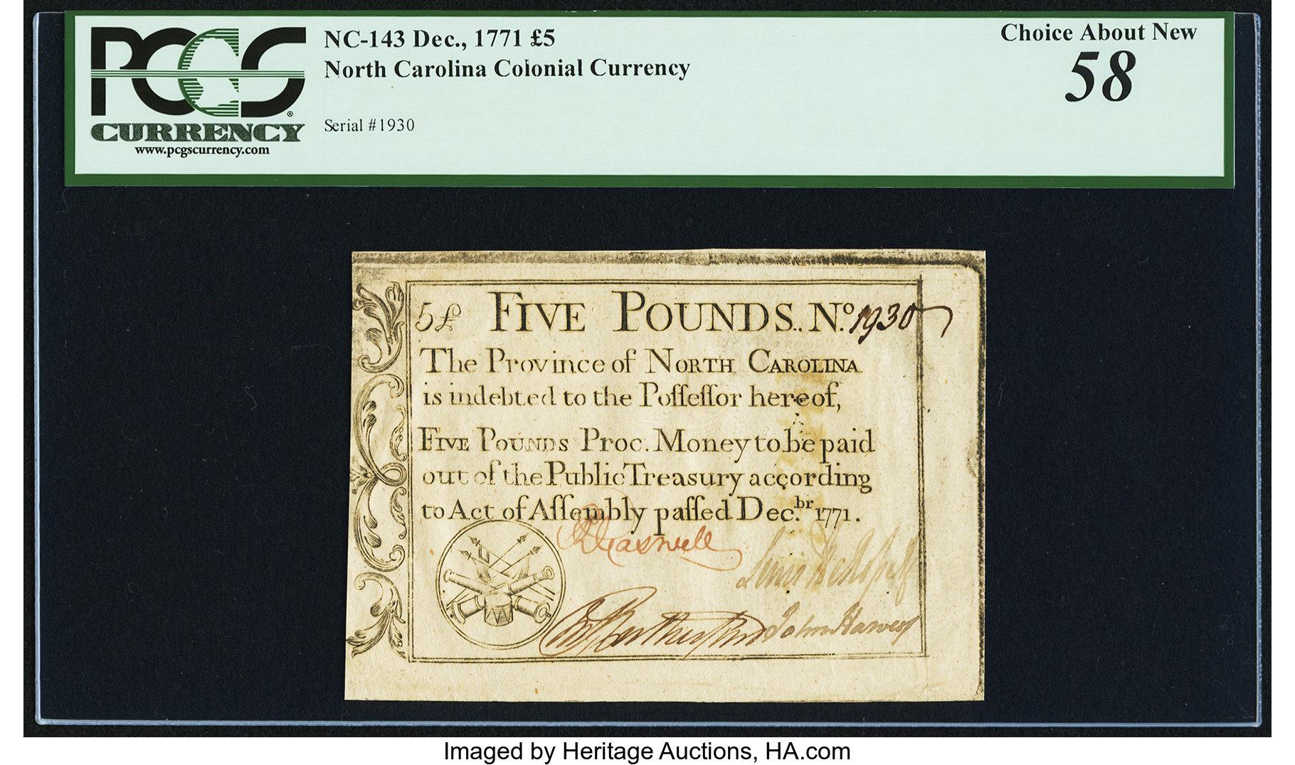 sample image for 1771 December £5 (Fr.# NC143)