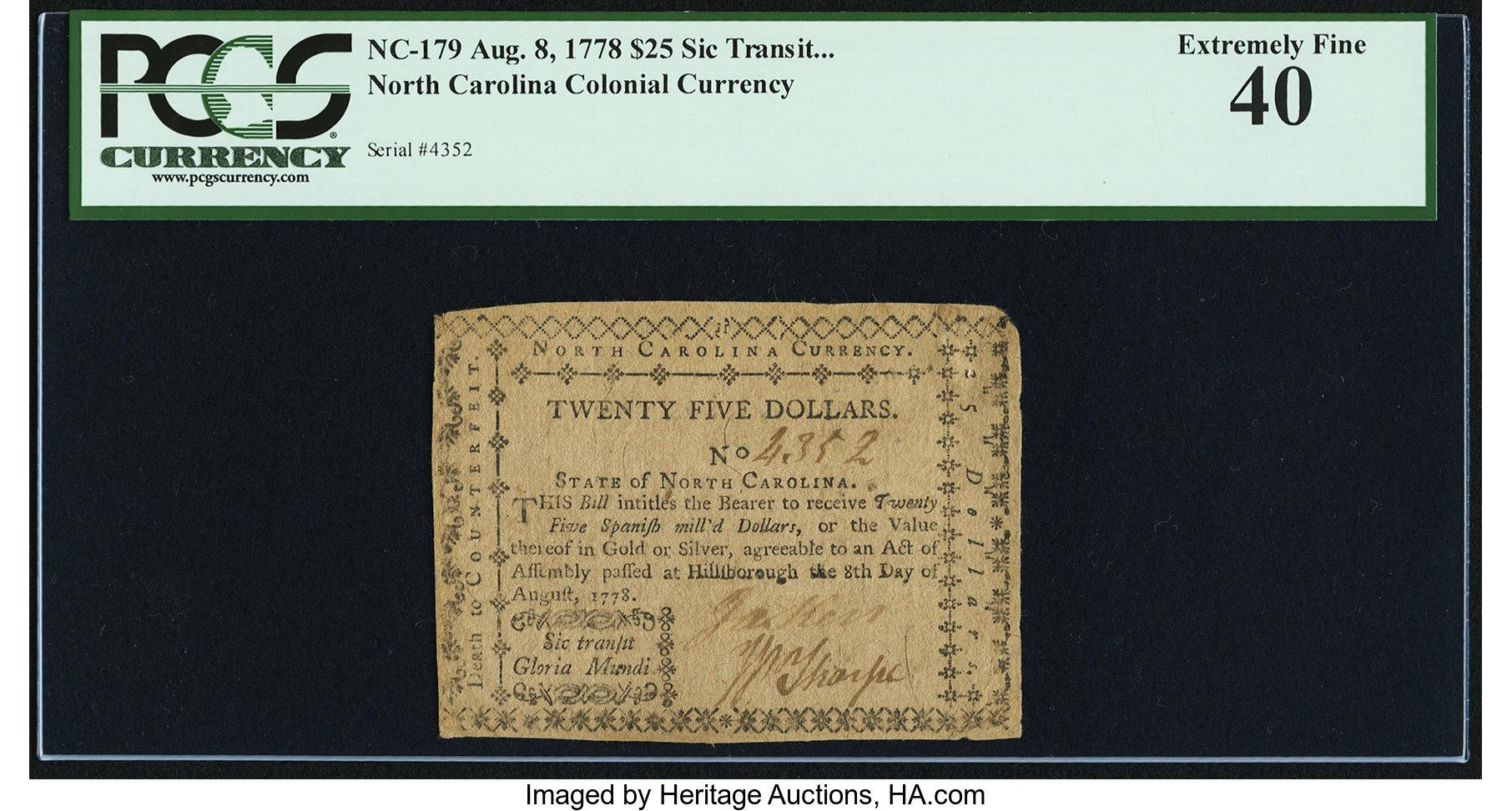 sample image for 1778 8-Aug $25  (Fr.# NC179)