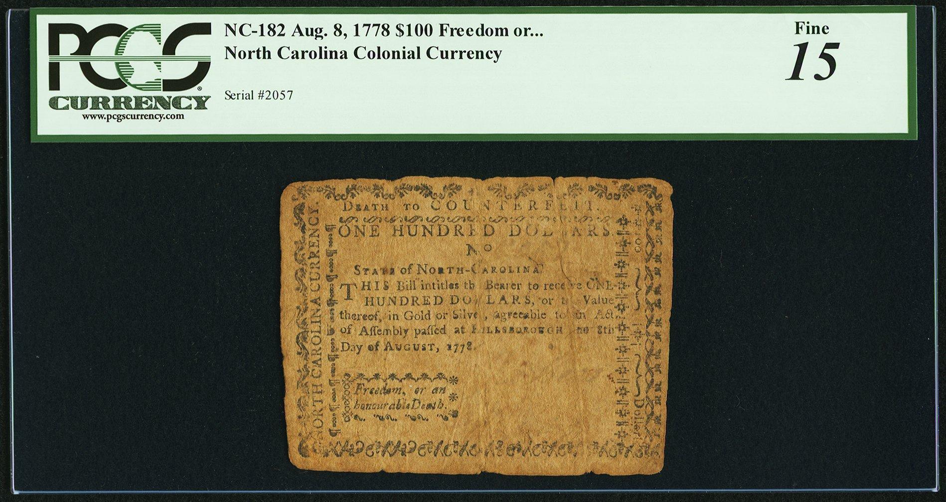 sample image for 1778 8-Aug $100  (Fr.# NC182)