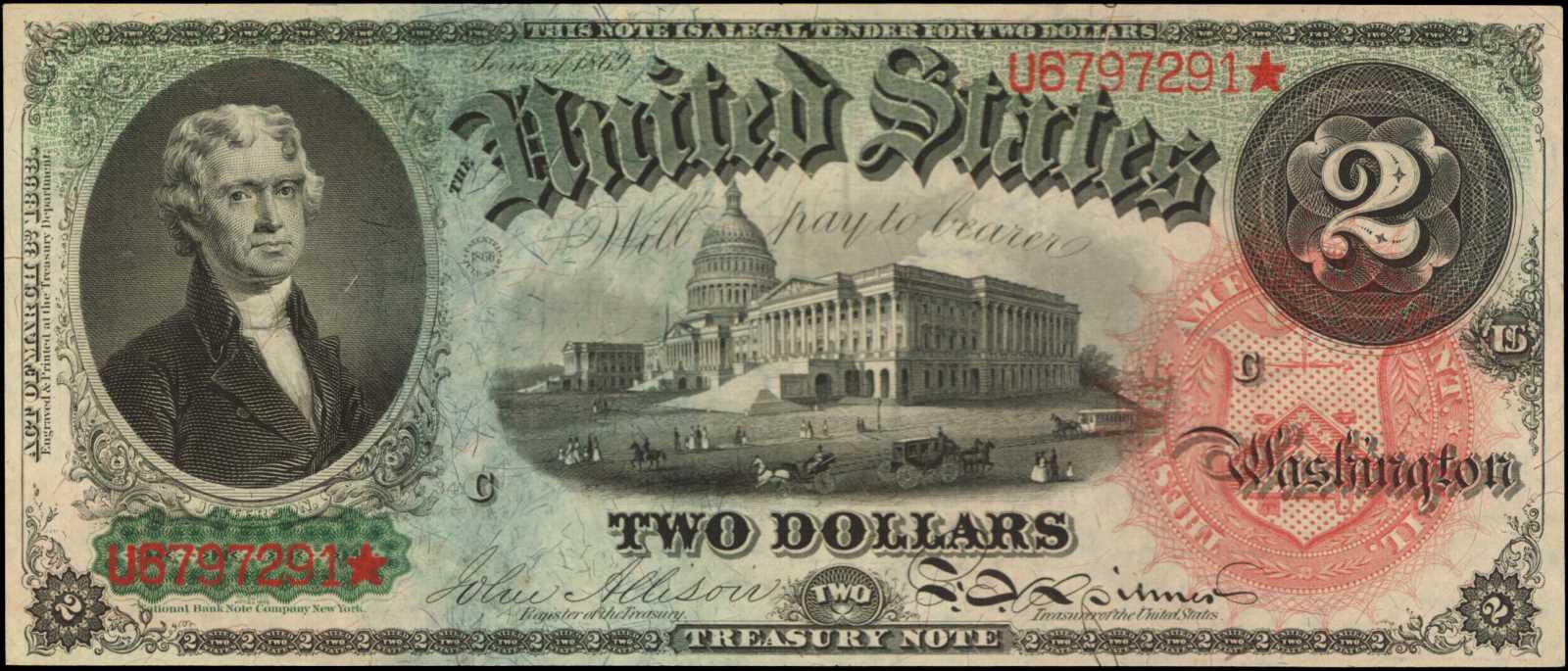 sample image for 1869 $2  (Fr.# 42)
