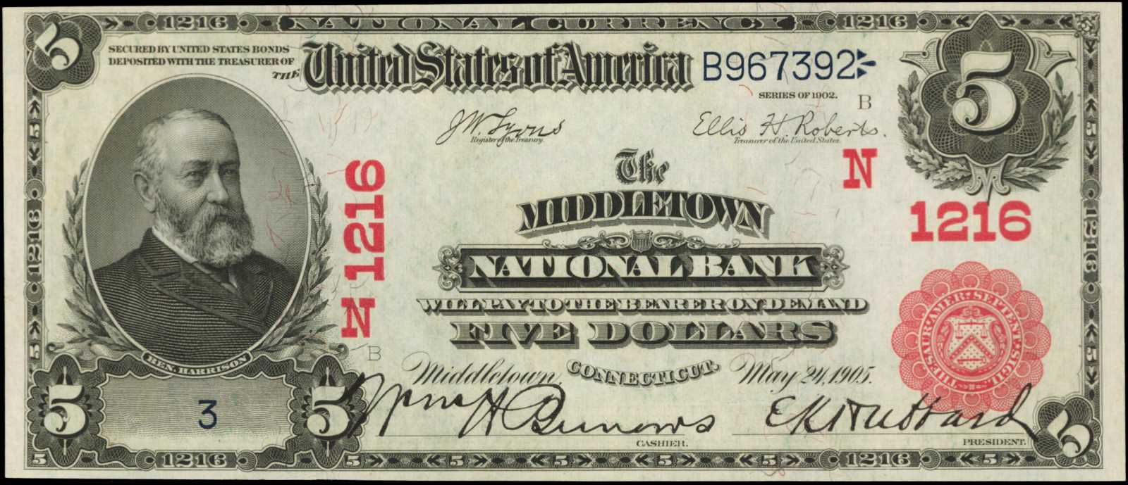 sample image for 1902 3rd Charter Period $5  Red Seal 1st Issue (Fr.# 587589TYPE) [Type]