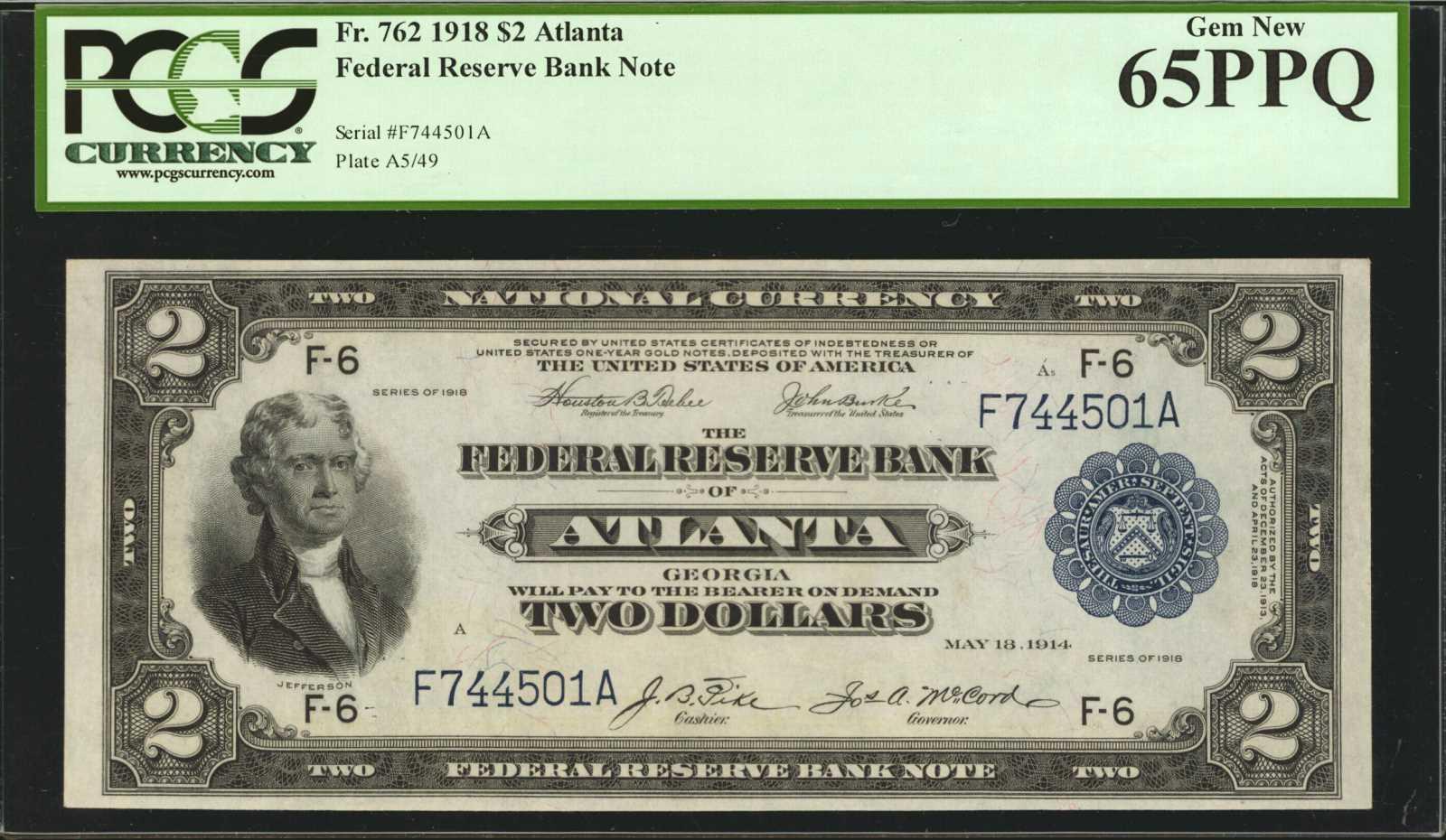 sample image for 1918 $2  Atlanta (Fr.# 762)