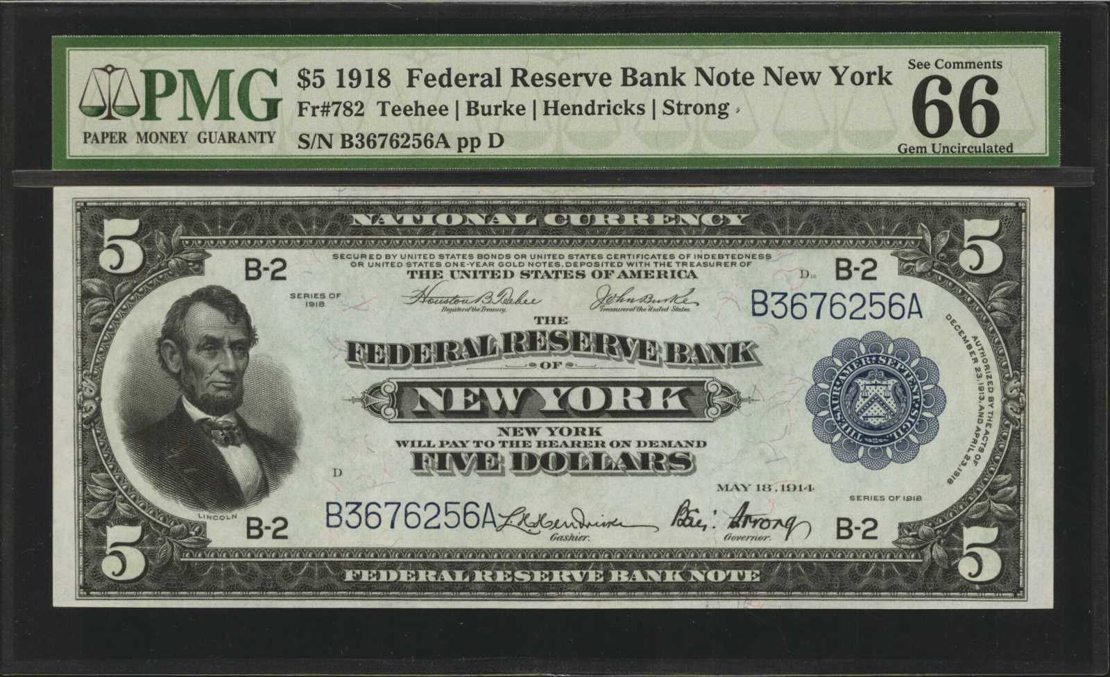 sample image for 1918 $5  New York (Fr.# 782)