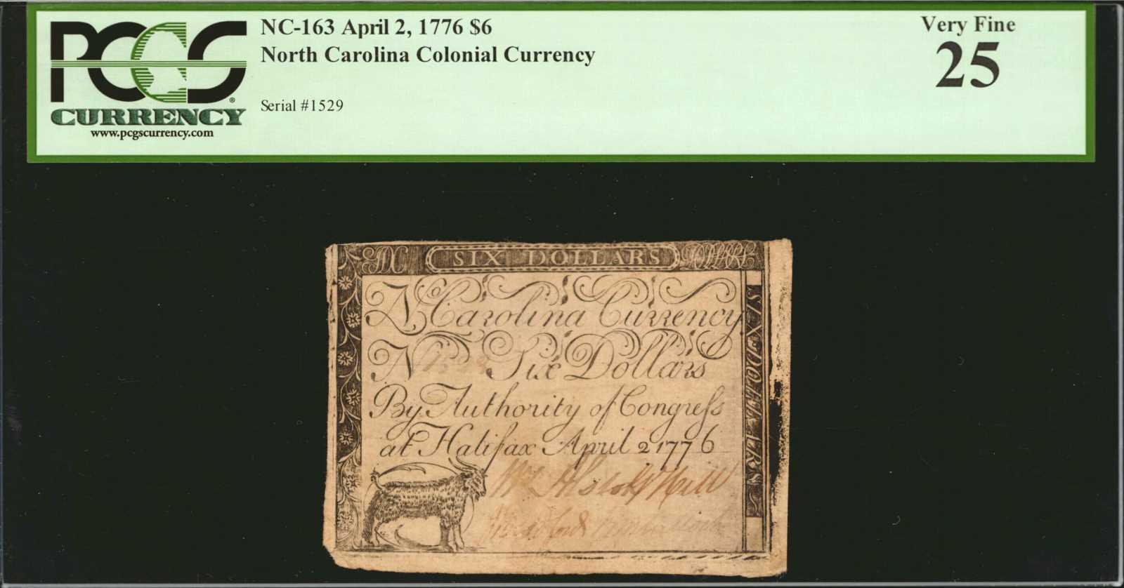 sample image for 1776 2-Apr $6  Goat (Fr.# NC163a)