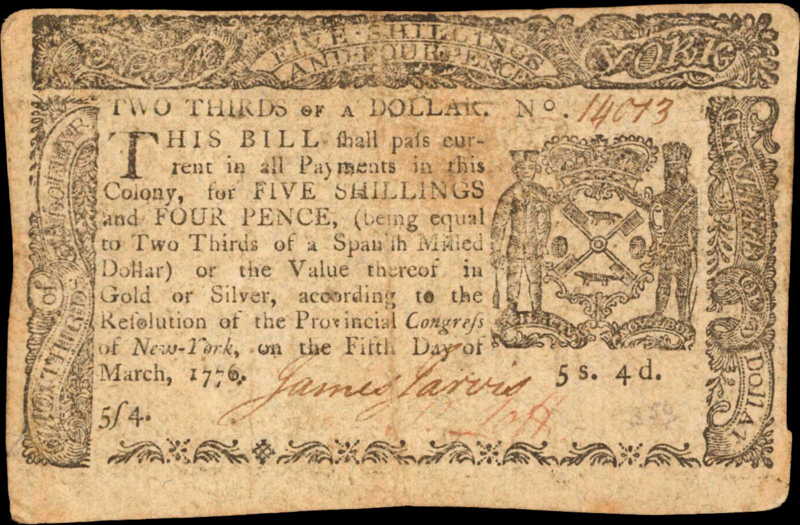 sample image for 1776 5-Mar $2/3 (Fr.# NY190)