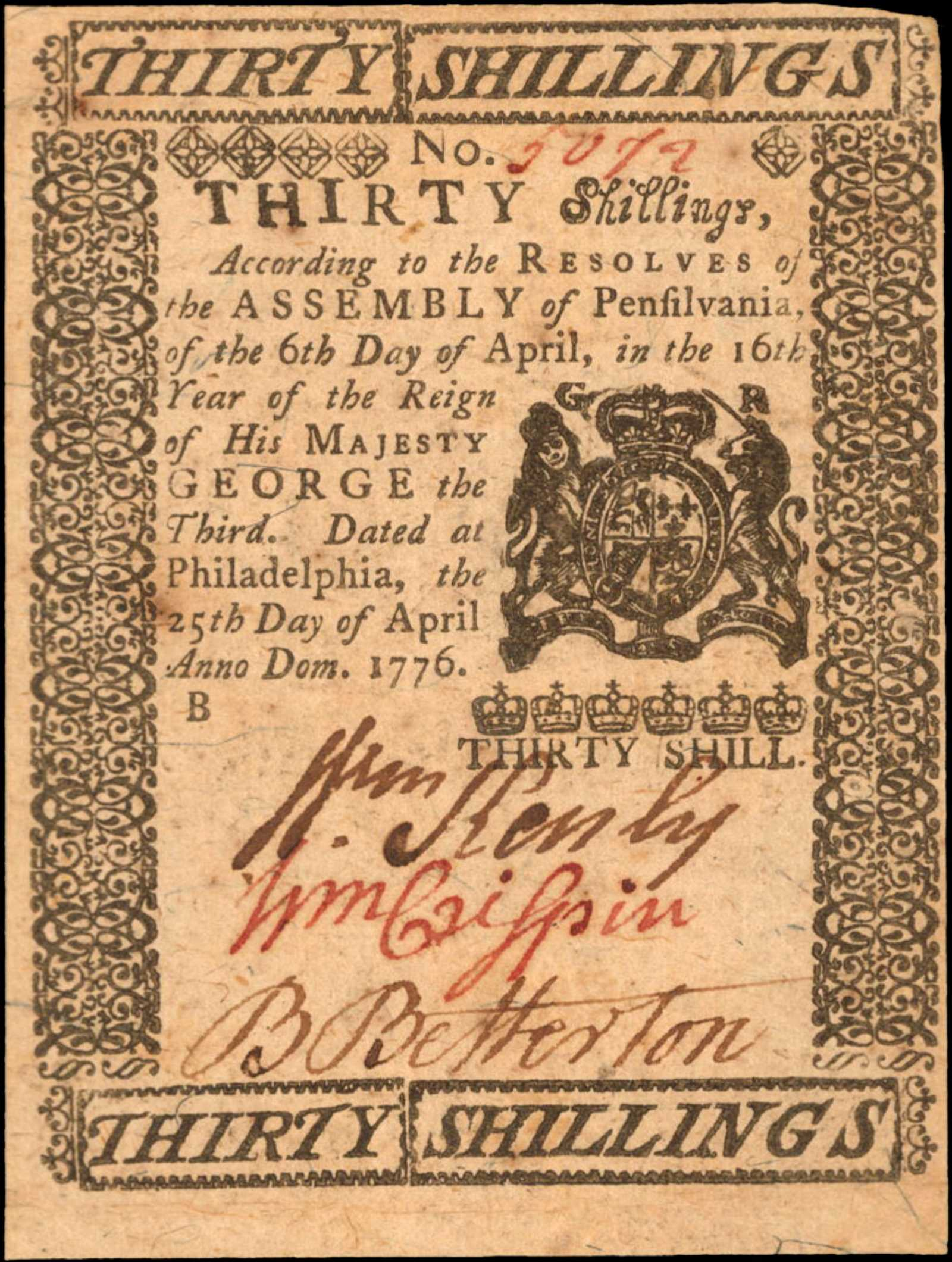 sample image for 1776 25-Apr 30s (Fr.# PA207)