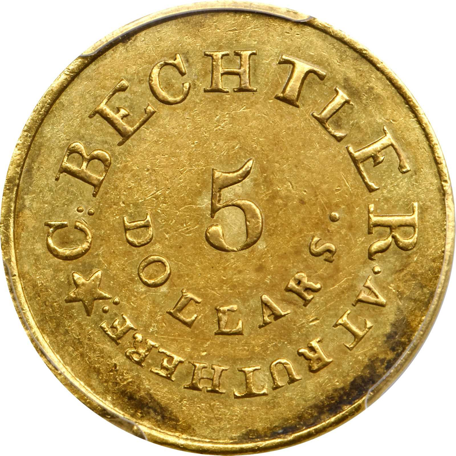 sample image for 1834 C.Becht $5 RUTHERFORD, RE, 20C (K-18)