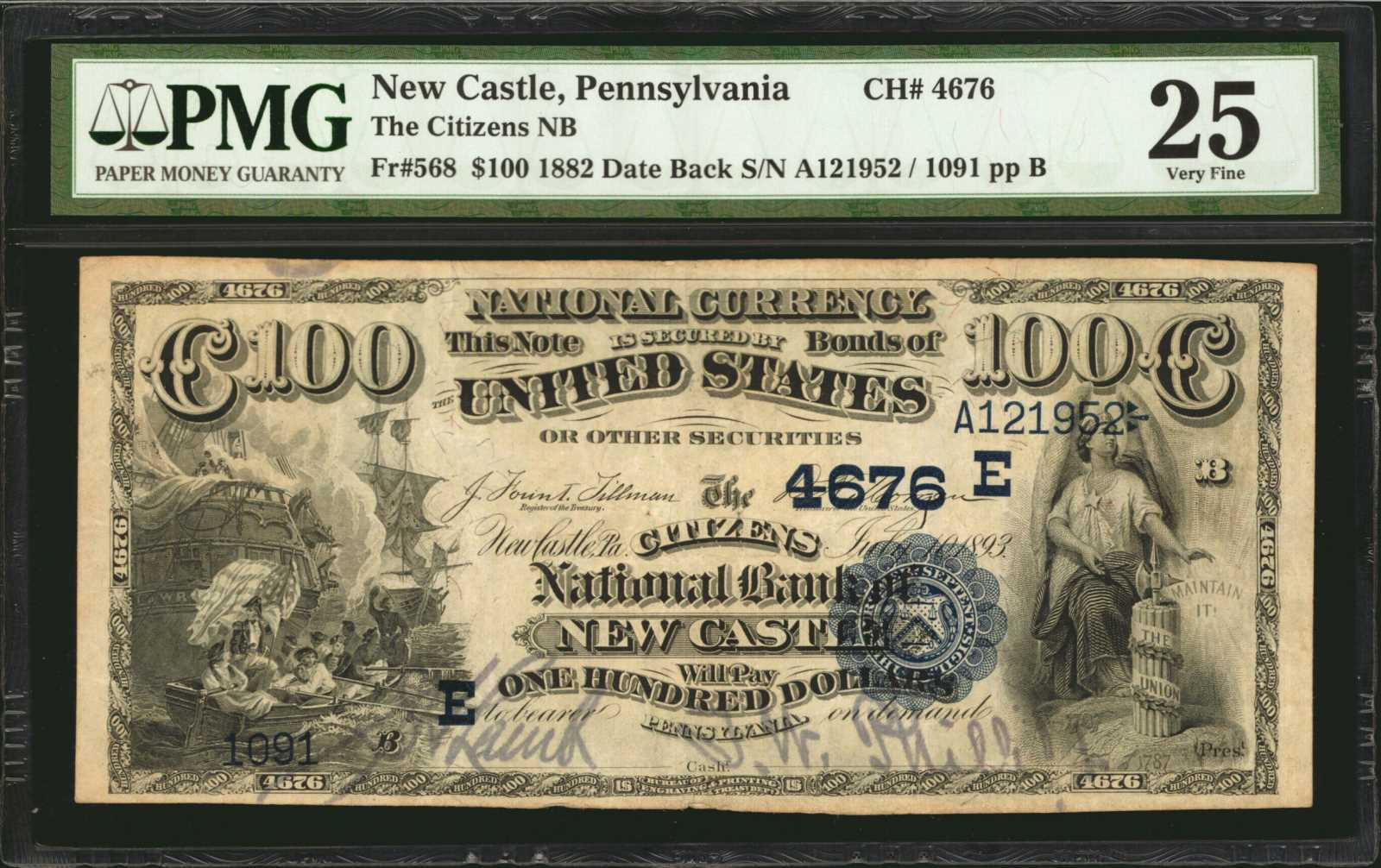 sample image for 1882 2nd Charter Period $100  Date Back 2nd Issue (Fr.# 568)