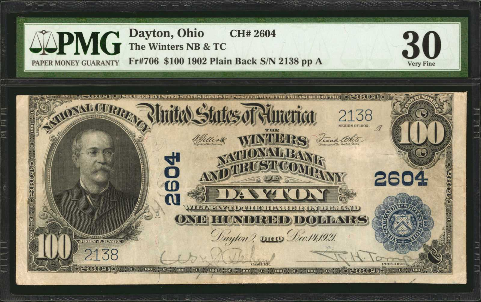 sample image for 1902 3rd Charter Period $100  Plain Back 3rd Issue (Fr.# 706)