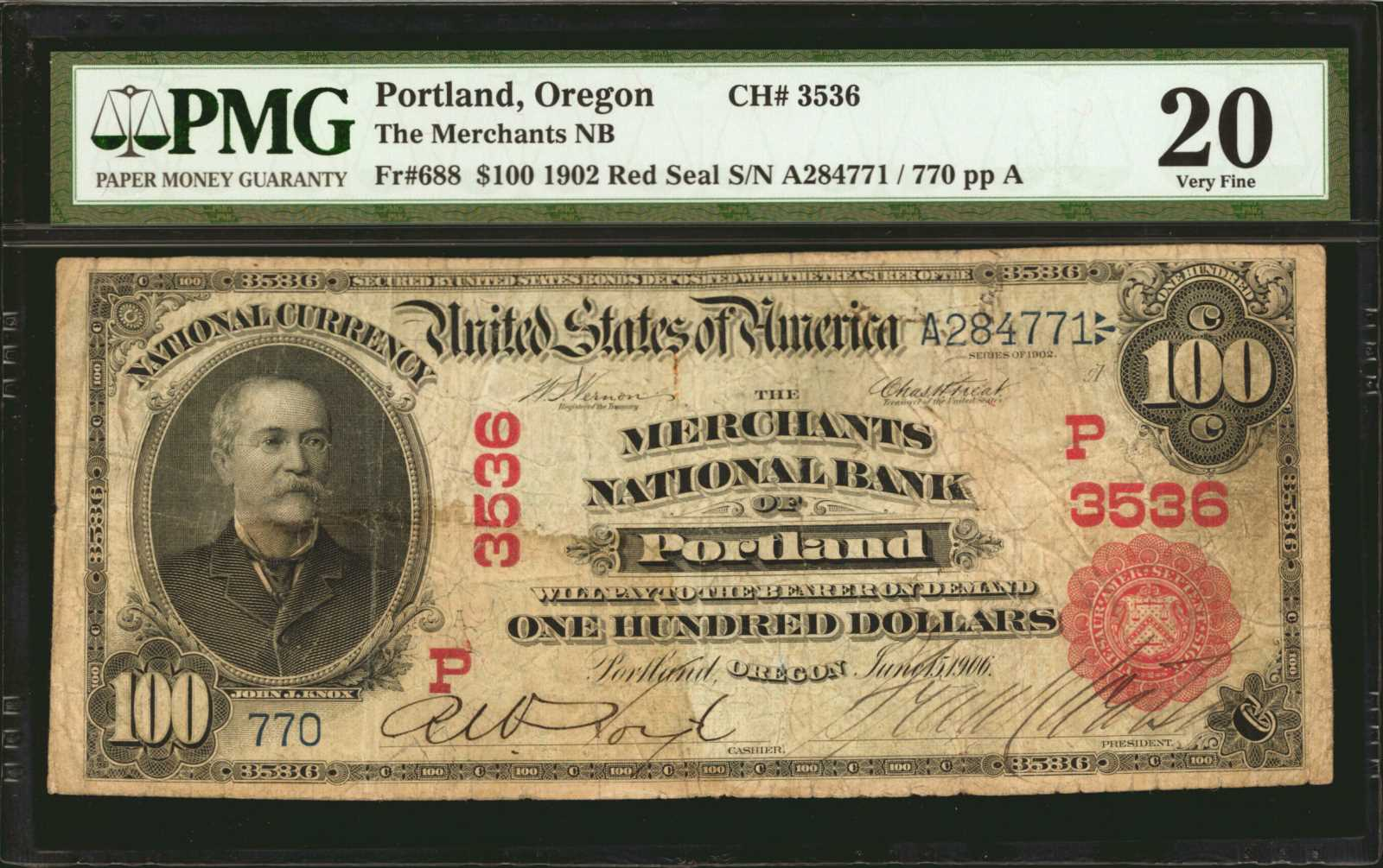 sample image for 1902 3rd Charter Period $100  Red Seal 1st Issue (Fr.# 688)