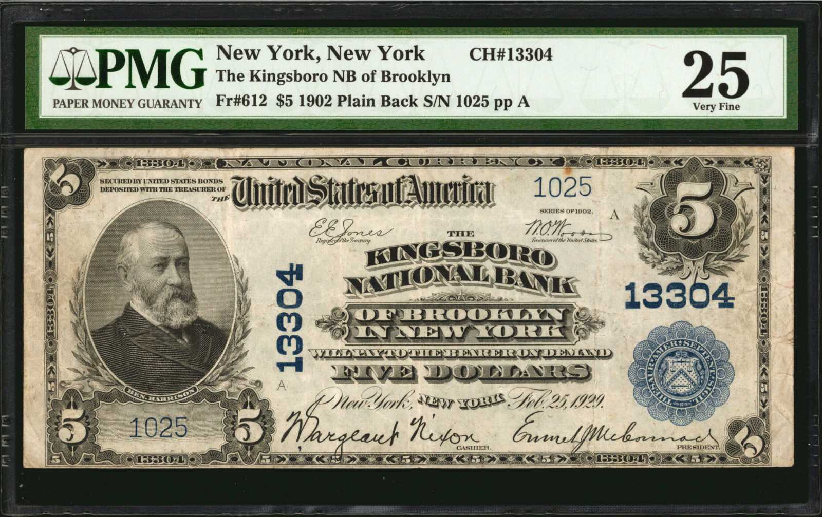 sample image for 1902 3rd Charter Period $5  Plain Back 3rd Issue (Fr.# 612)