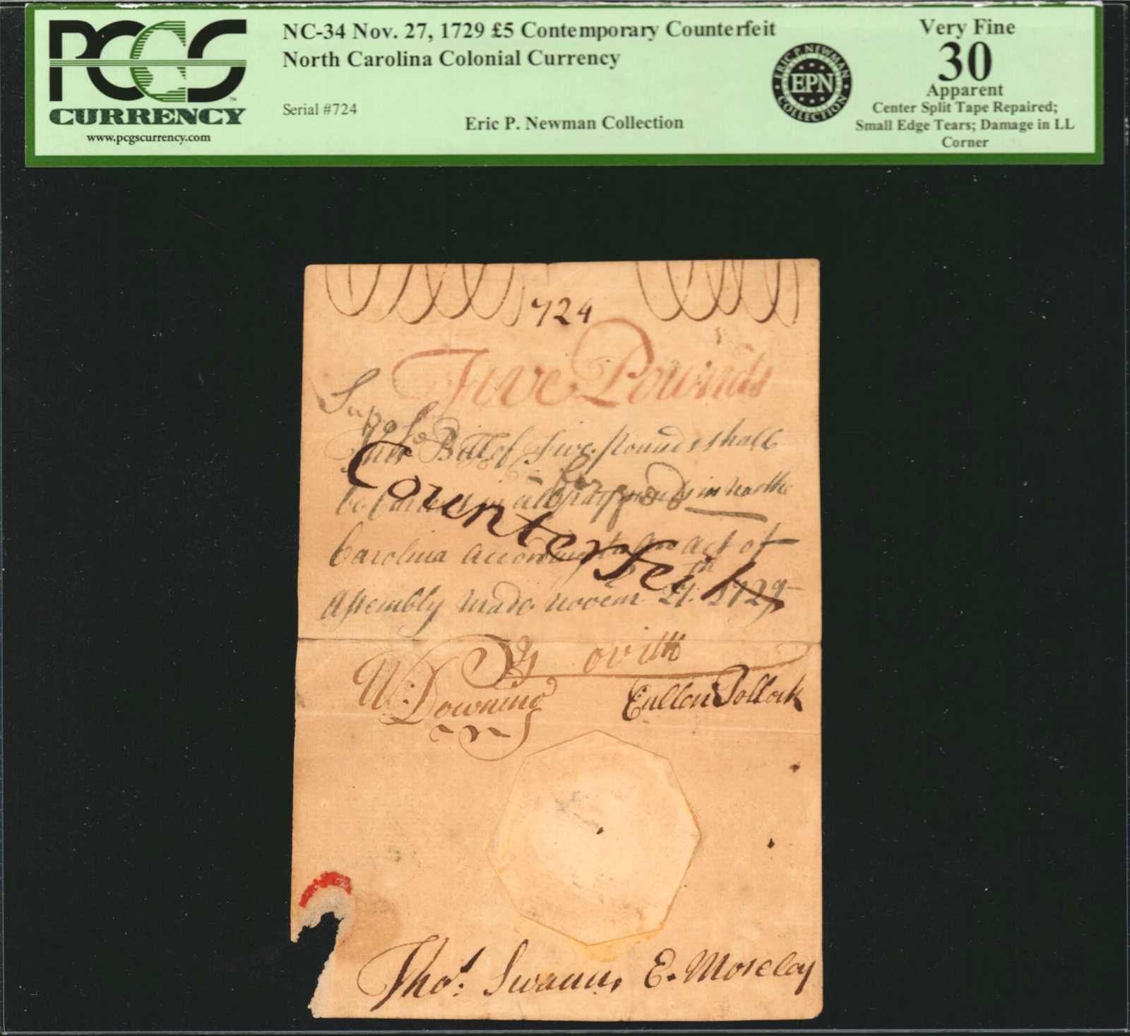 sample image for 1729 27-Nov £5 (Fr.# NC34)