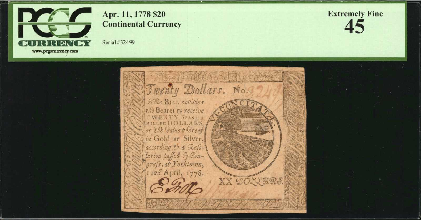 sample image for 1778 $20 CC76 Yorktown