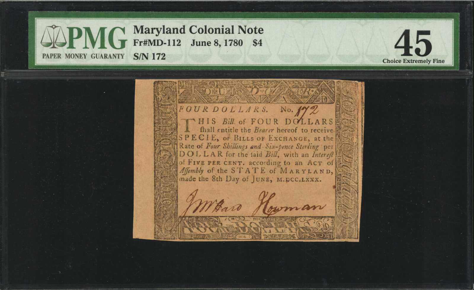 sample image for 1780 8-Jun $4  (Fr.# MD112)