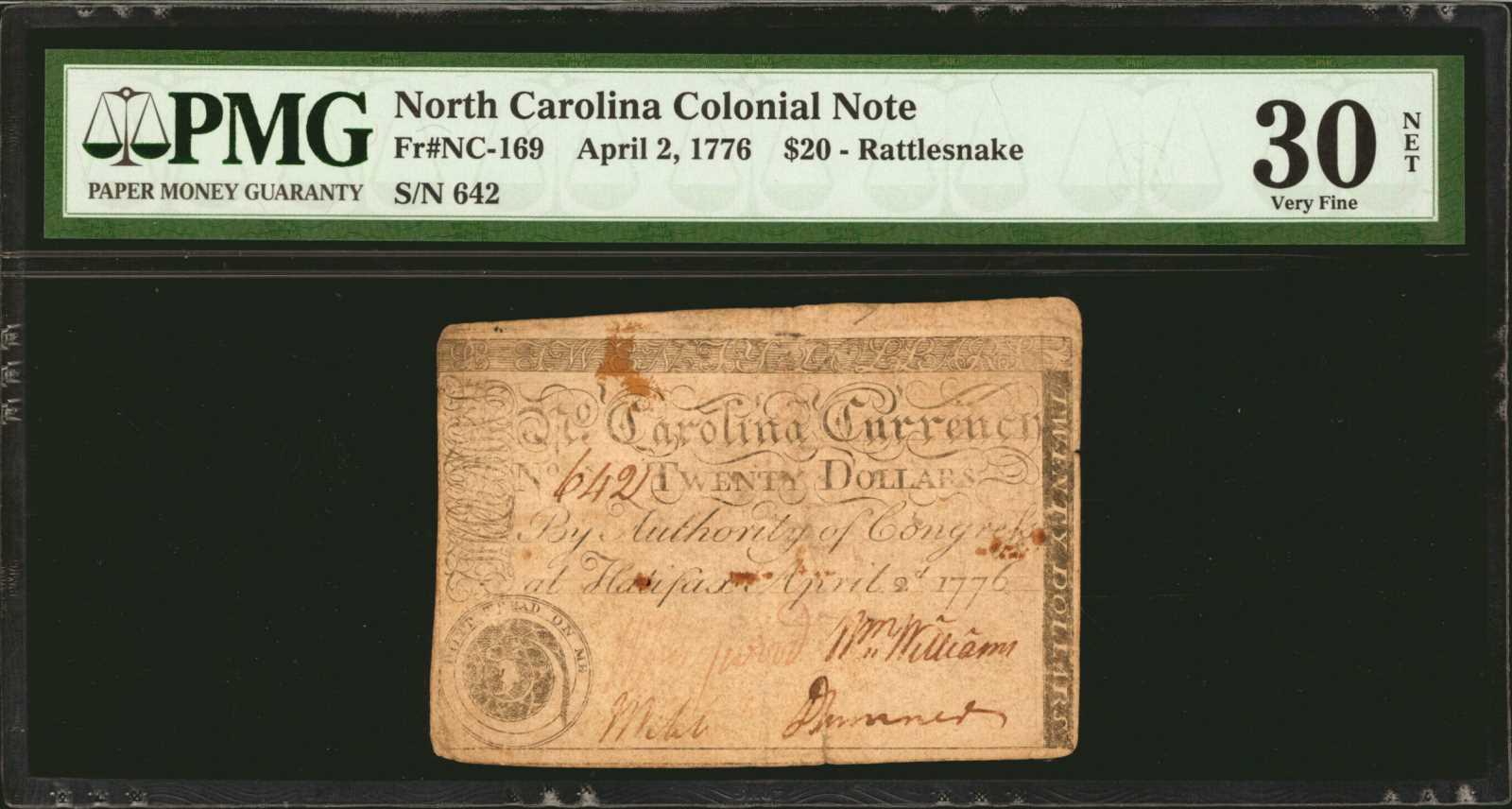 sample image for 1776 2-Apr $20  Rattlesnake (Fr.# NC169)
