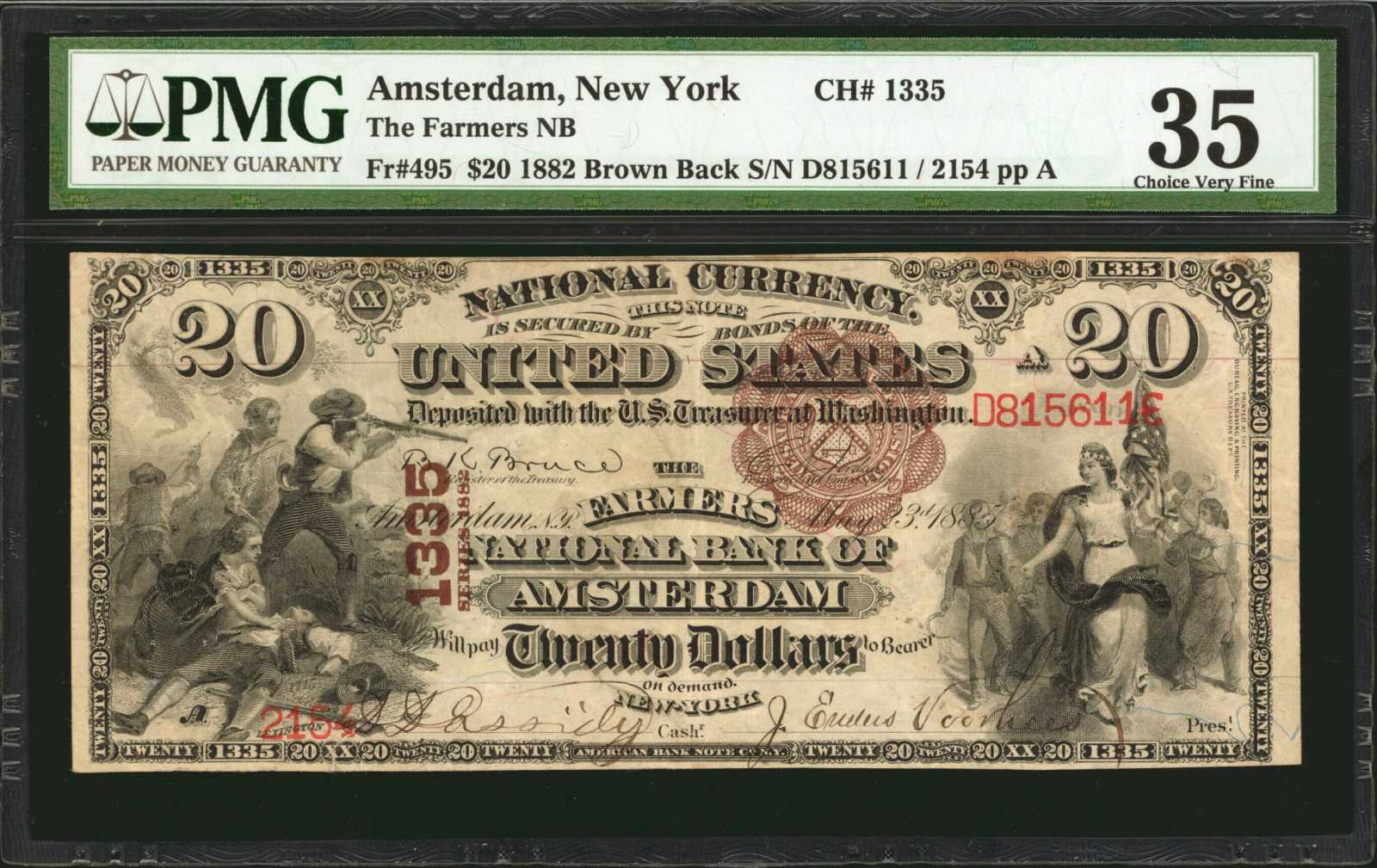 sample image for 1882 2nd Charter Period $20  Brown Back 1st Issue (Fr.# 495)