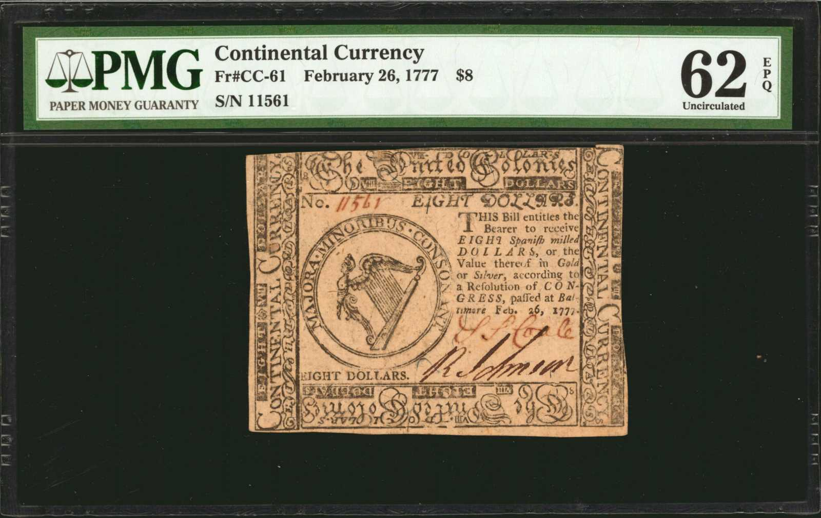 sample image for 1777 $8 CC61 Baltimore