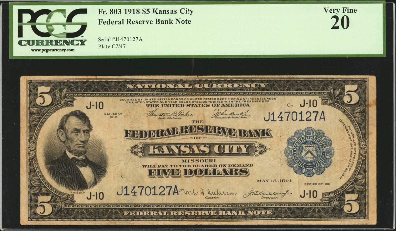 sample image for 1918 $5  Kansas City (Fr.# 803)