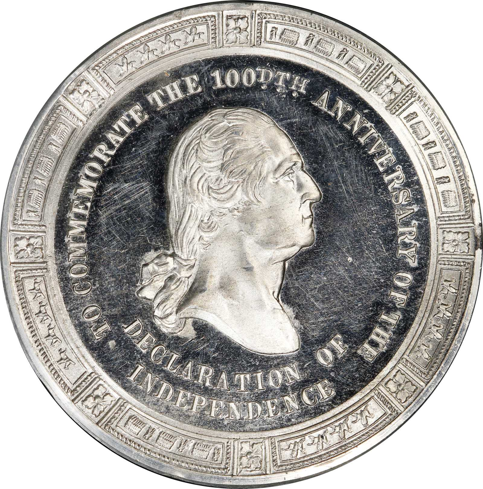 sample image for 1876 Declaration of Ind., heads in profile, Pewter SC$1 MS (HK-79)