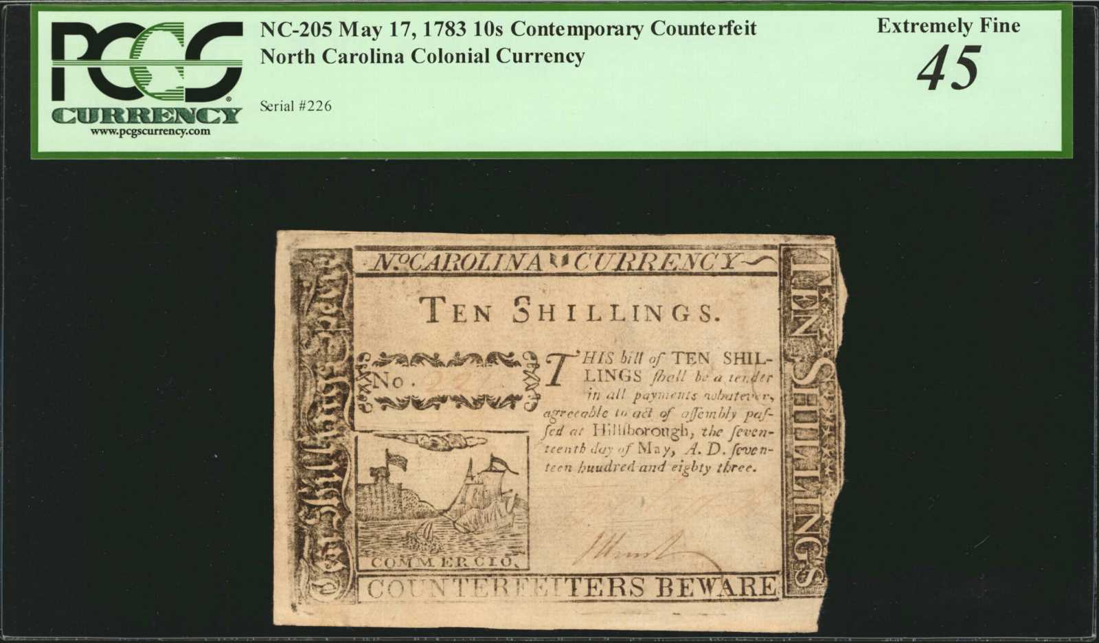 sample image for 1783 17-May 10s (Fr.# NC205)