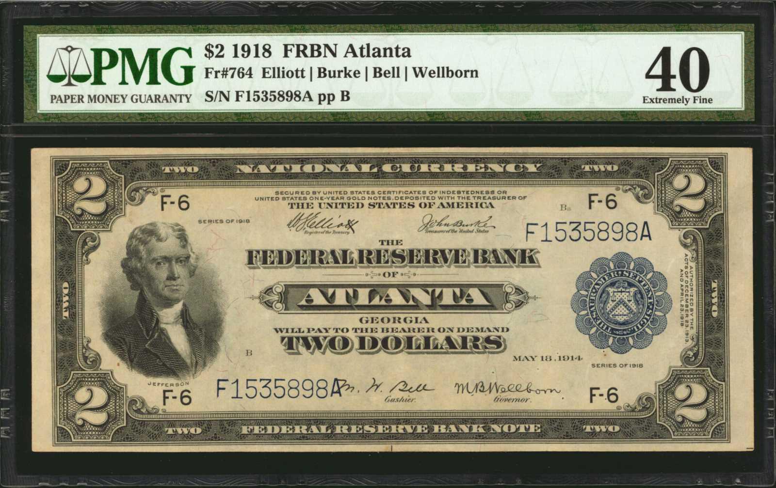 sample image for 1918 $2  Atlanta (Fr.# 764)