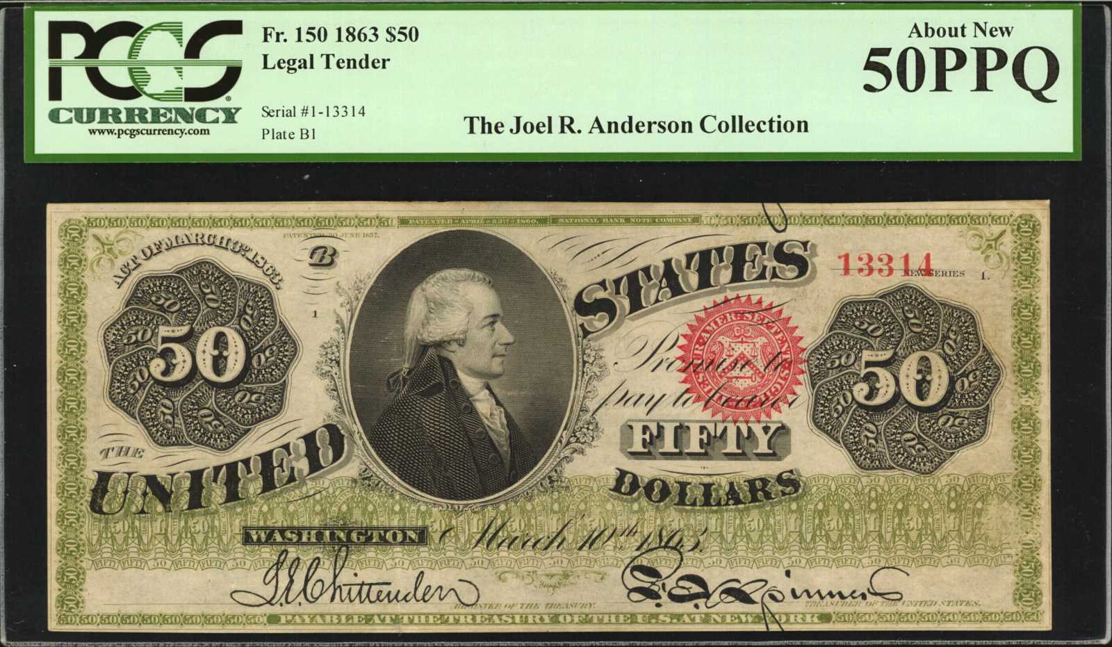 sample image for 1863 $50  Seal Type 2 (Fr.# 150)