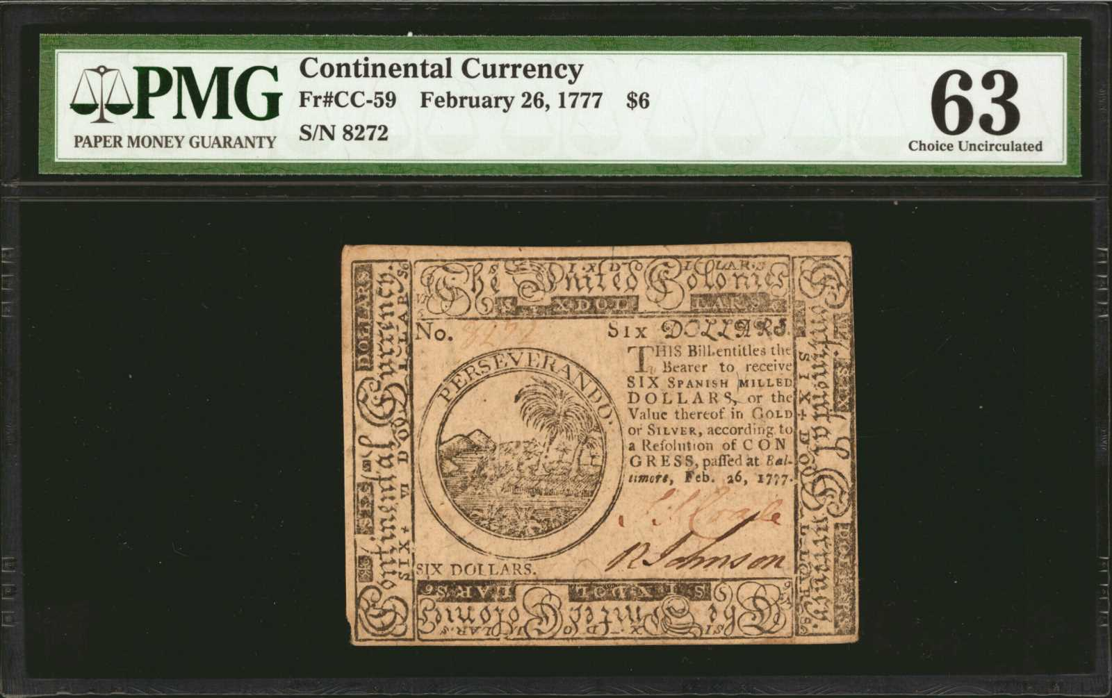sample image for 1777 $6 CC59 Baltimore