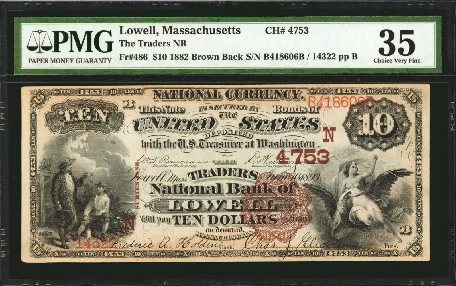 sample image for 1882 2nd Charter Period $10  Brown Back 1st Issue (Fr.# 486)