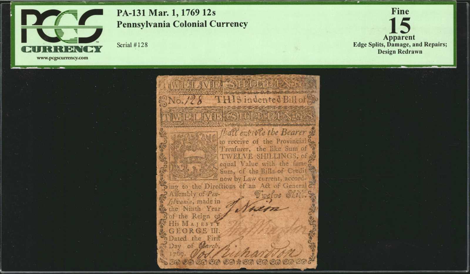 sample image for 1769 1-Mar 12s (Fr.# PA131)