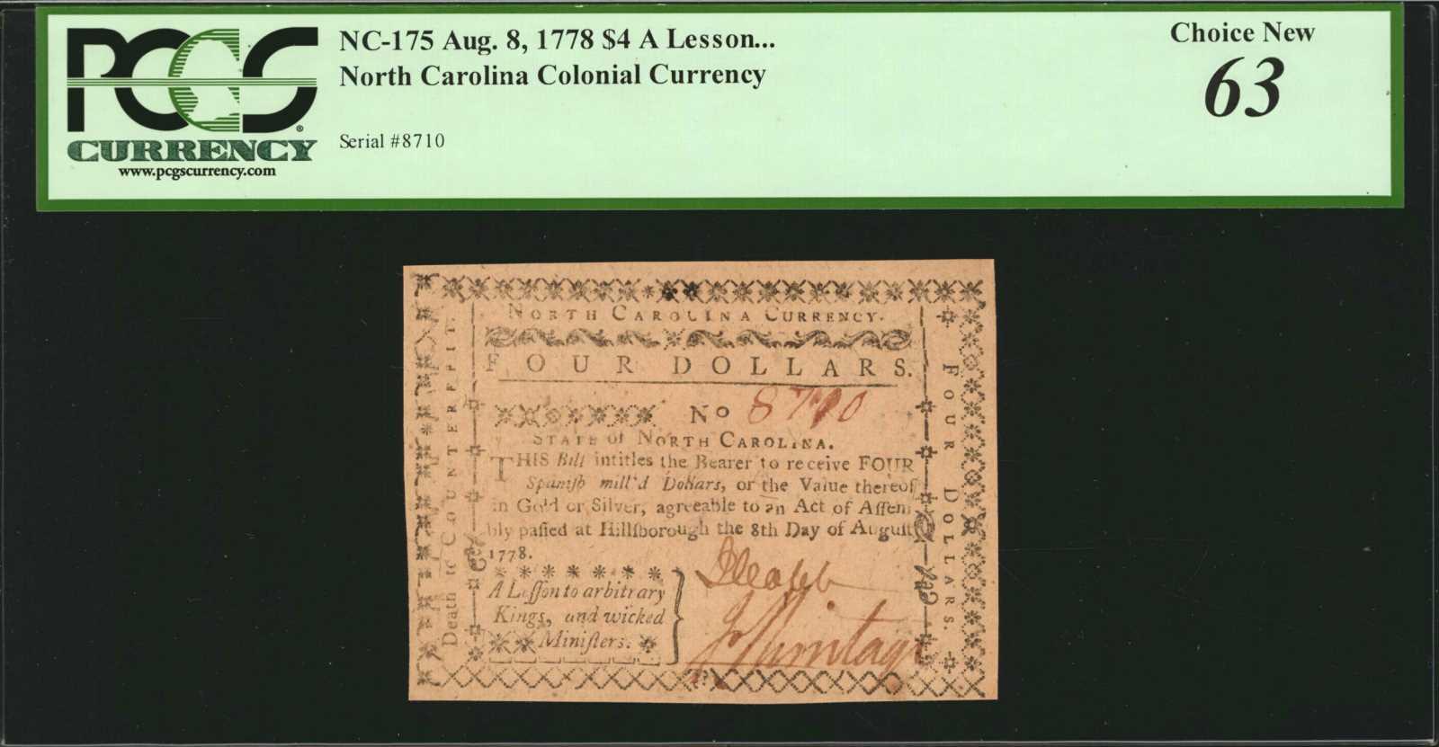 sample image for 1778 8-Aug $4  (Fr.# NC175)