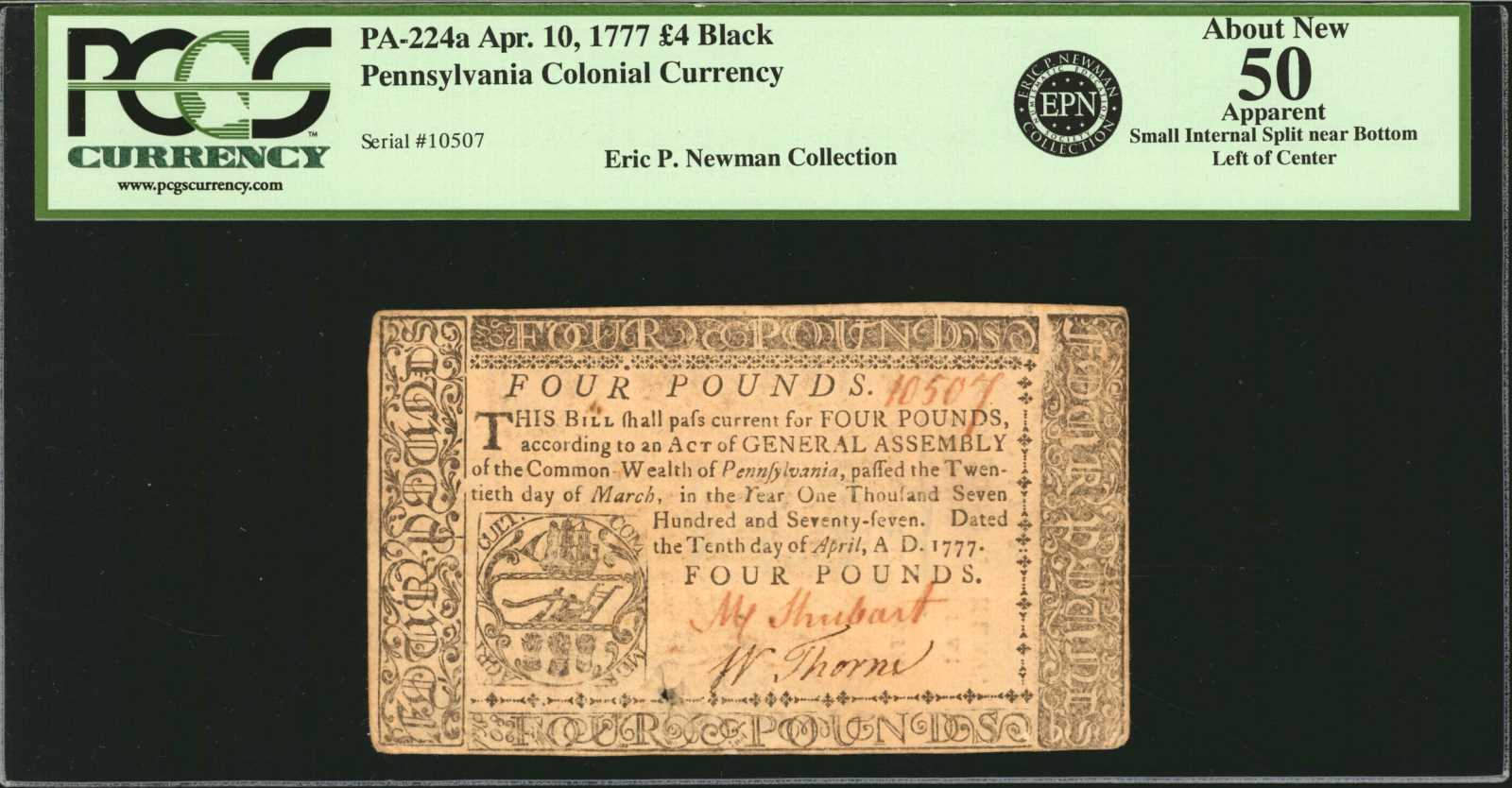 sample image for 1777 10-Apr £4 (Fr.# PA224a)