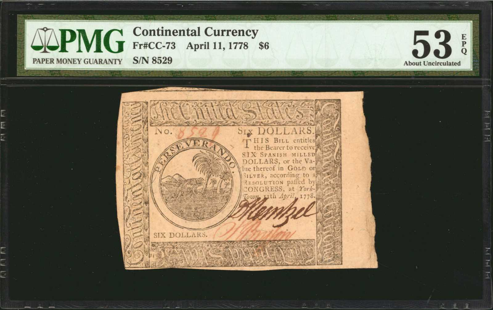 sample image for 1778 $6 CC73 Yorktown
